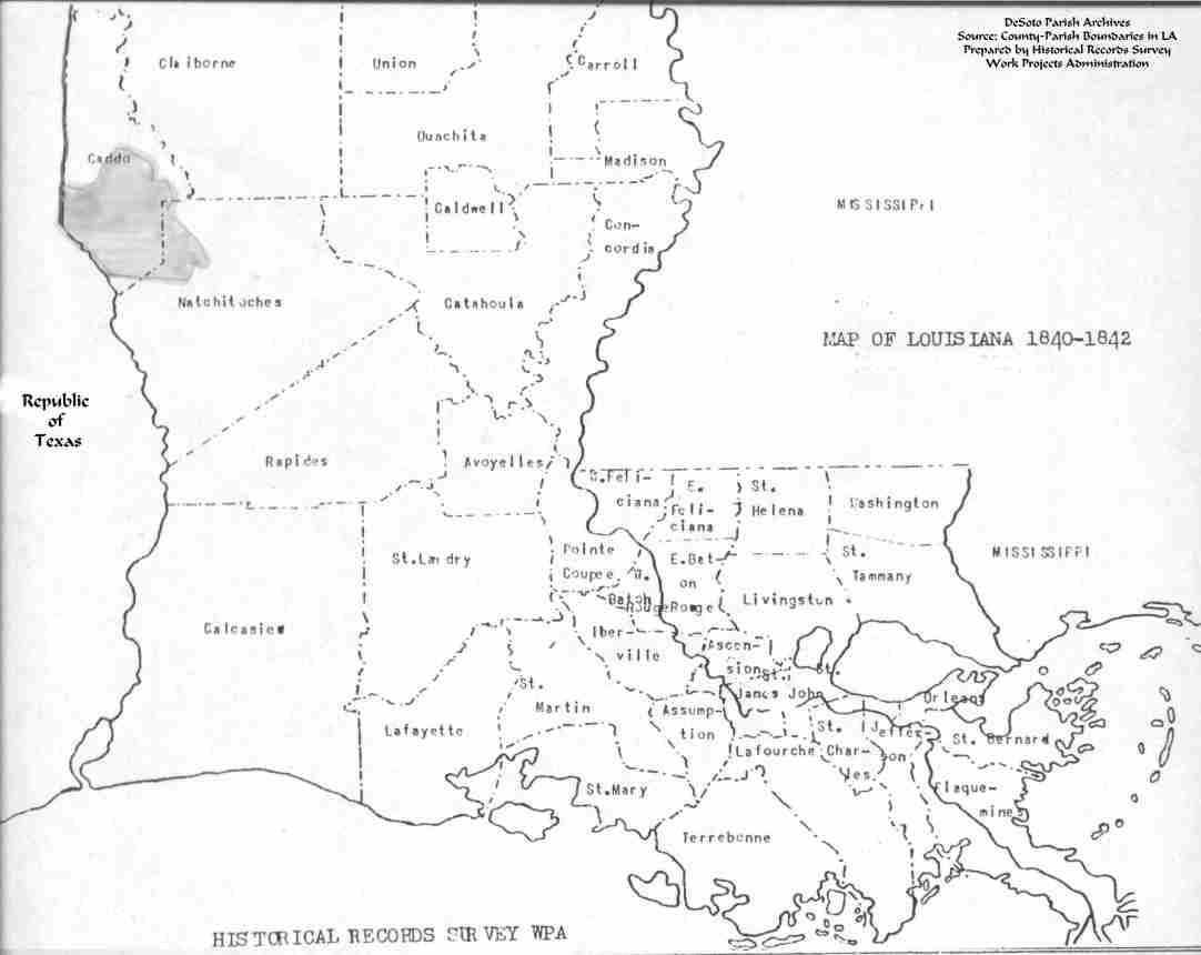 Louisiana Map Parishes.Desoto Parish Map Records