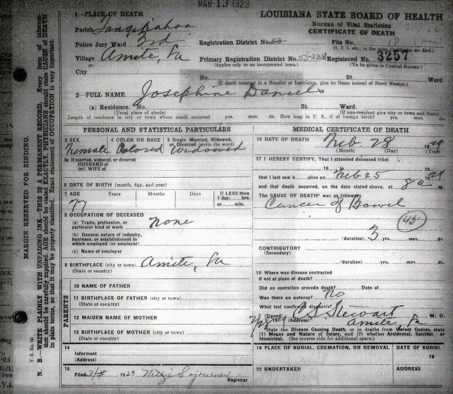 Who Is William Penn >> Death Certificates, Tangipahoa Parish