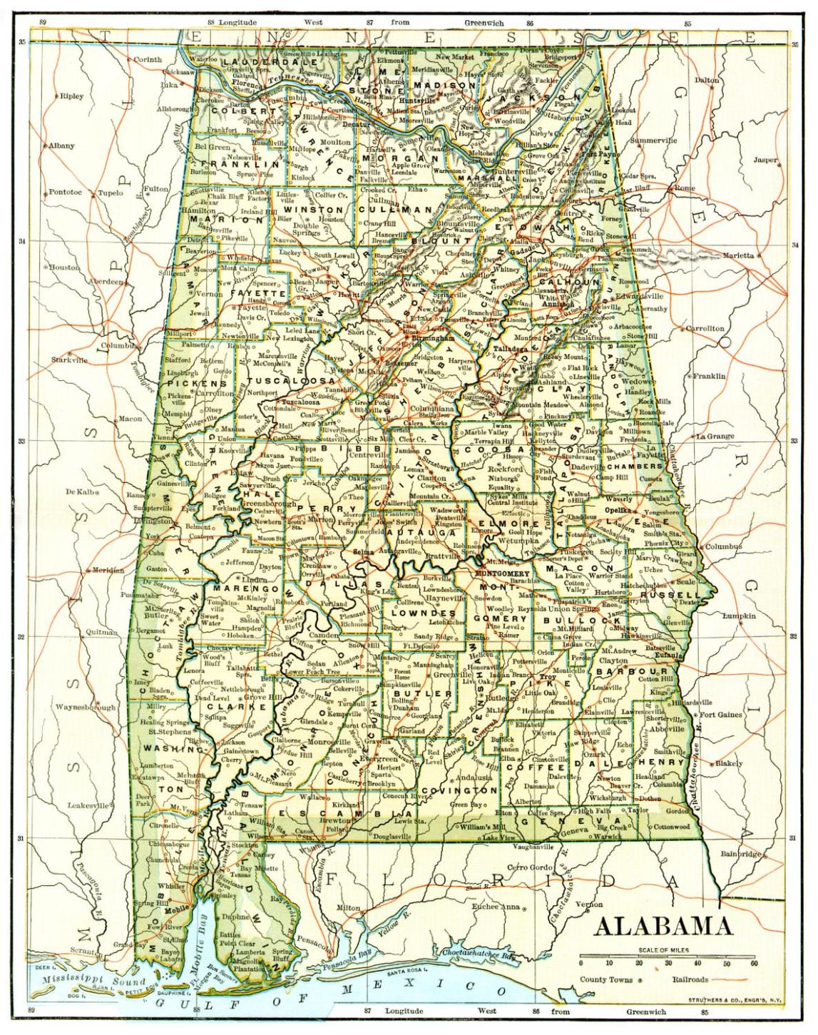Alabama United States Map.Alabama Maps Alabama Digital Map Library Table Of Contents United