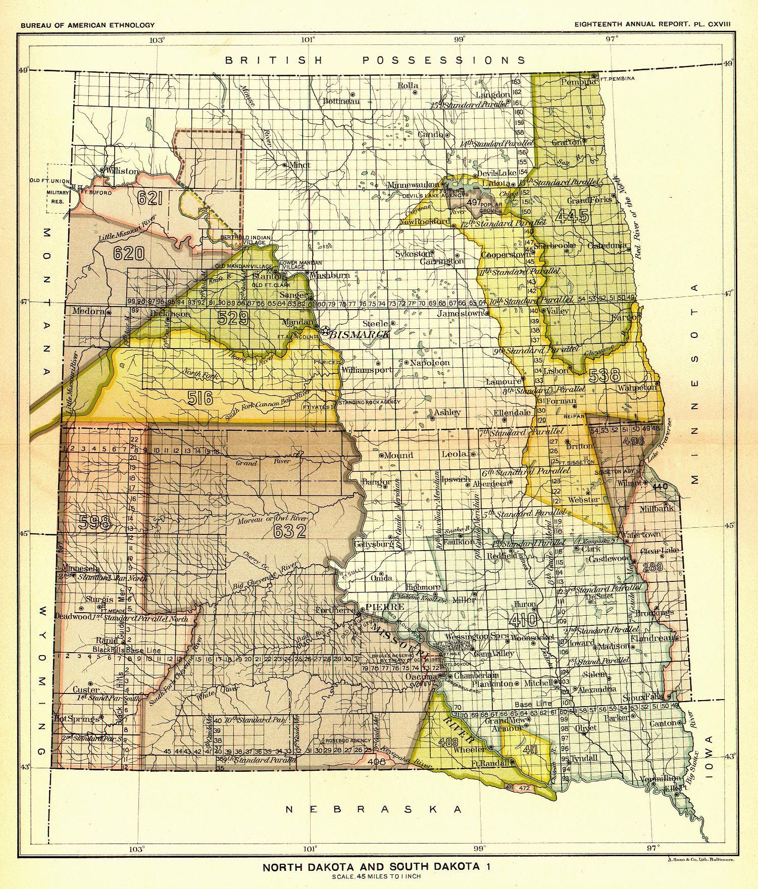 Indian Land Cessions In The U S North Dakota And South Dakota - Map of the us with dakotas together