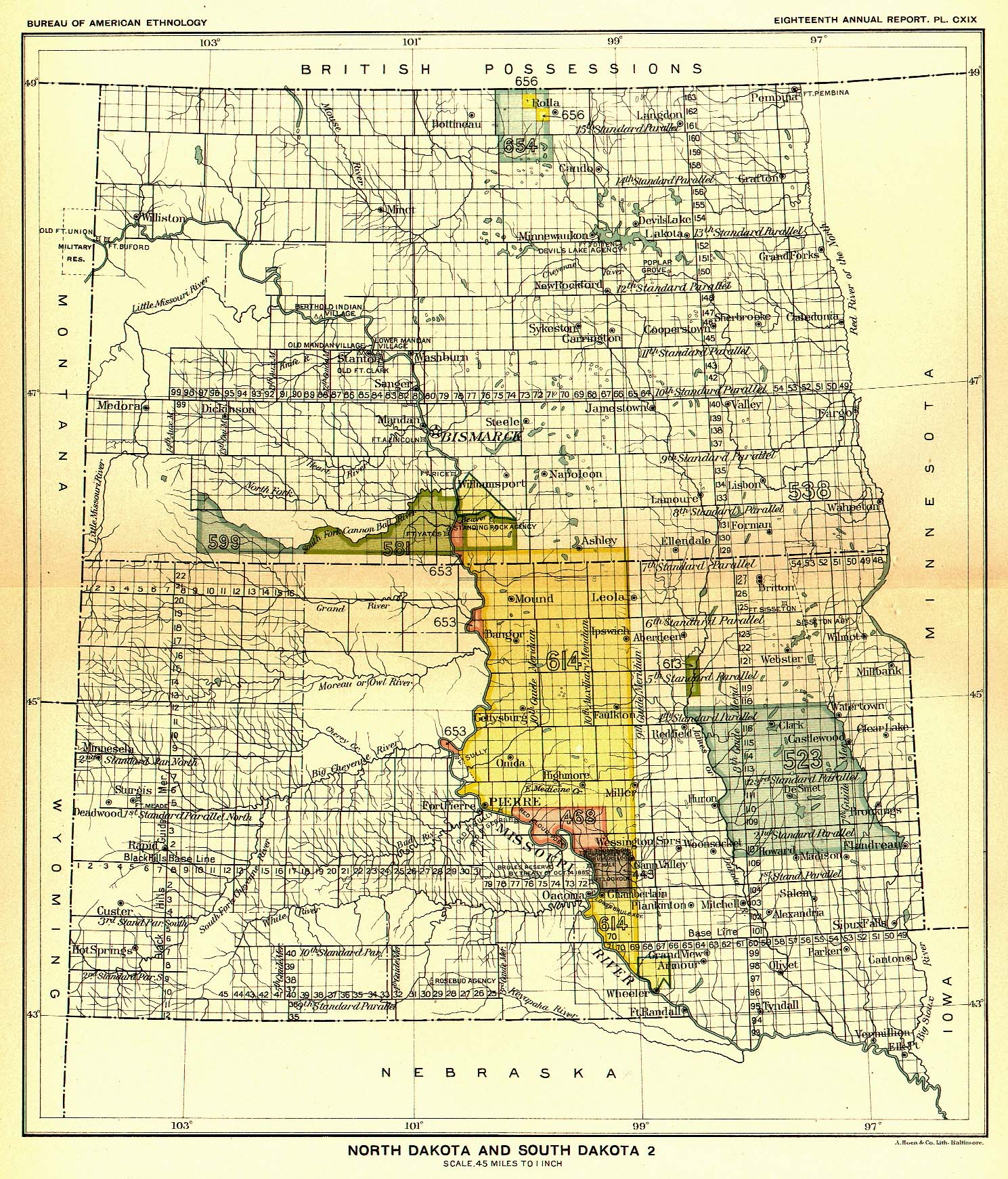 Indian Land Cessions In The U S North Dakota And South Dakota - North dakota map united states