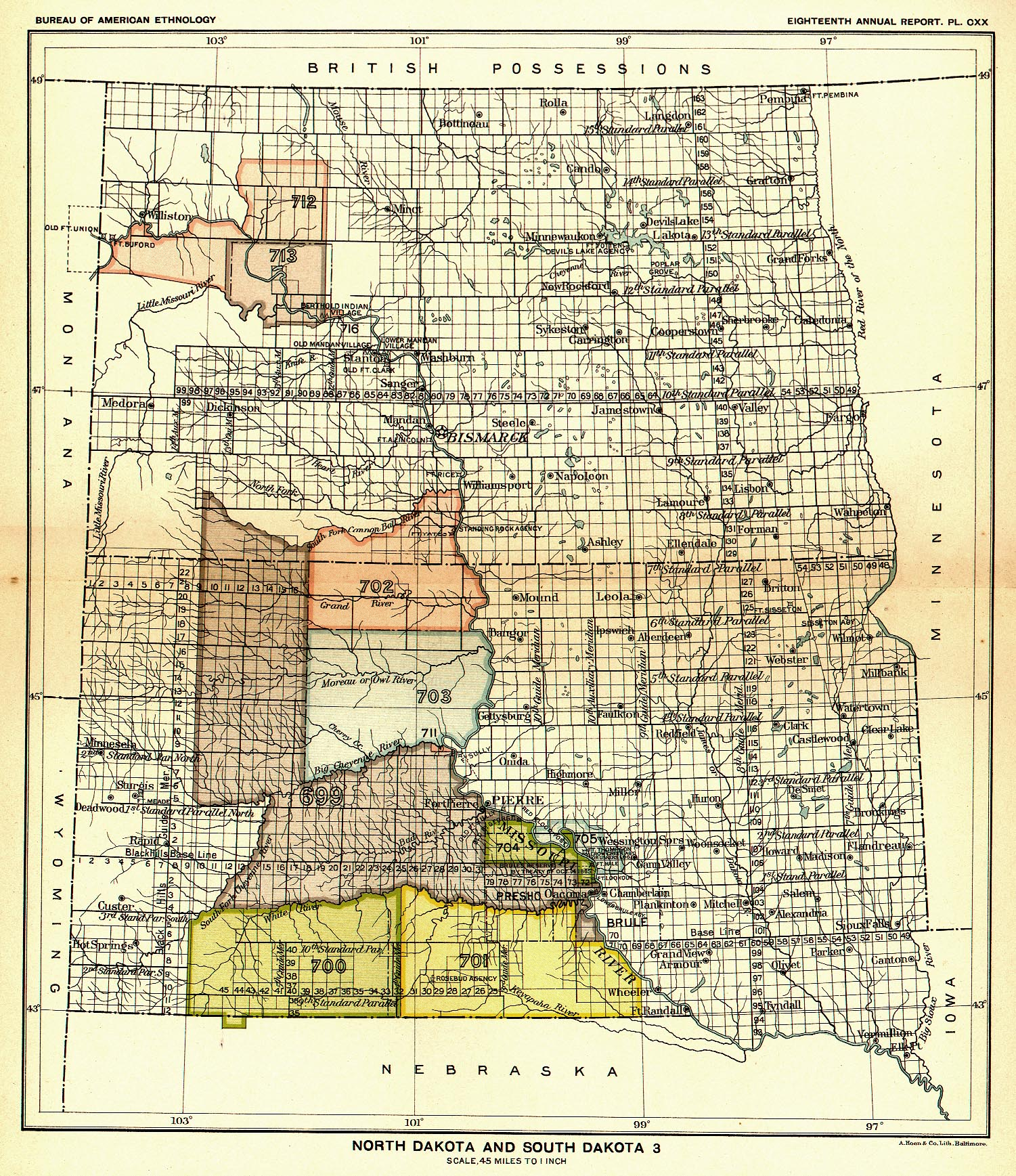 Indian Land Cessions In The U S North Dakota And South Dakota - Us north south map