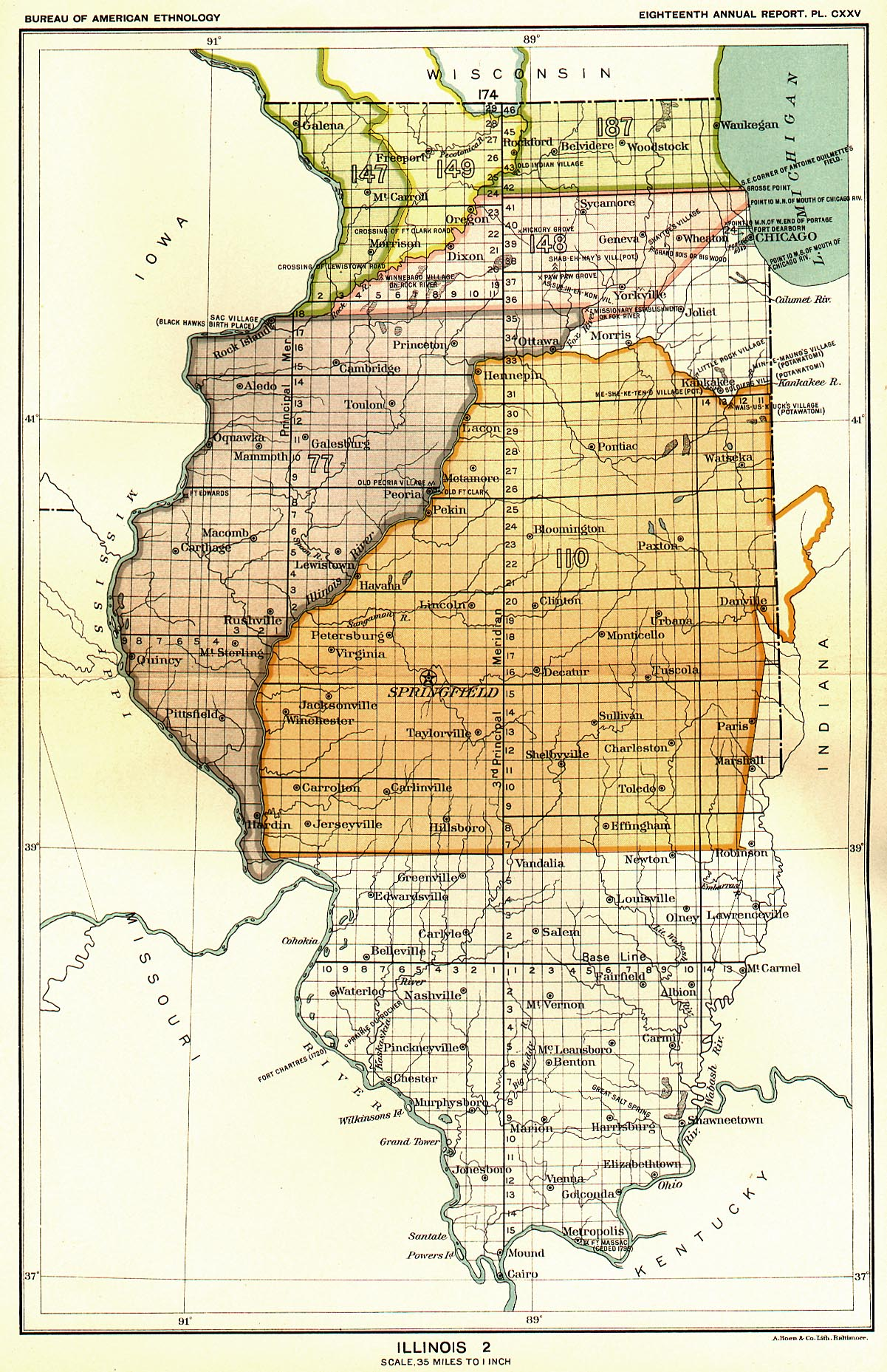 Indian Land Cessions In The U S Illinois Map United - Illinois on the us map