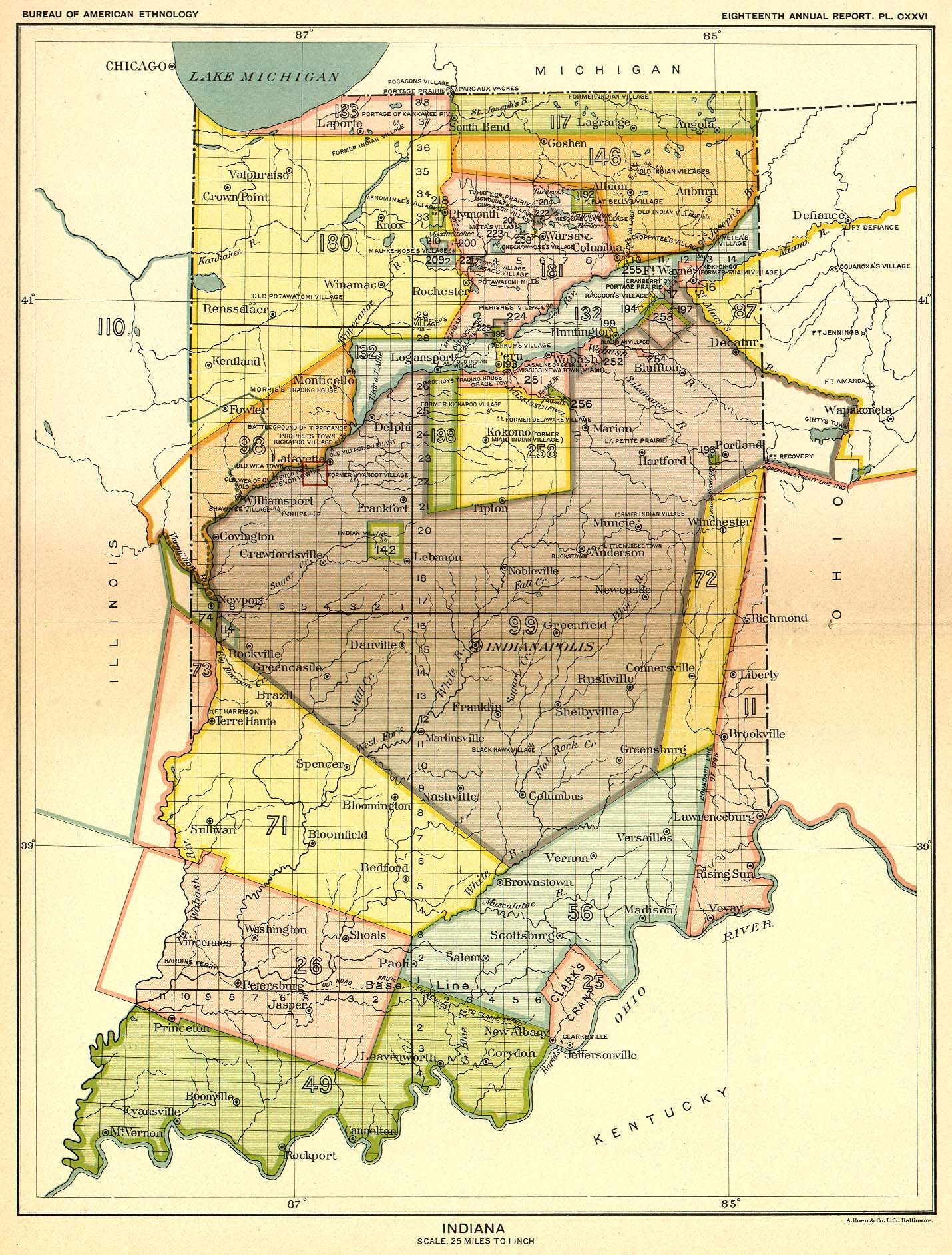 Indian Land Cessions In The U S Indiana Map United States - Indiana on a us map