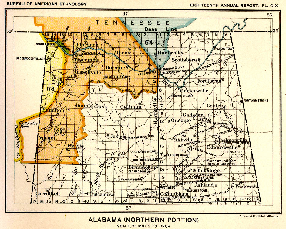 Indian Land Cessions In The U S Alabama Northern Portion Map - Map of northern alabama