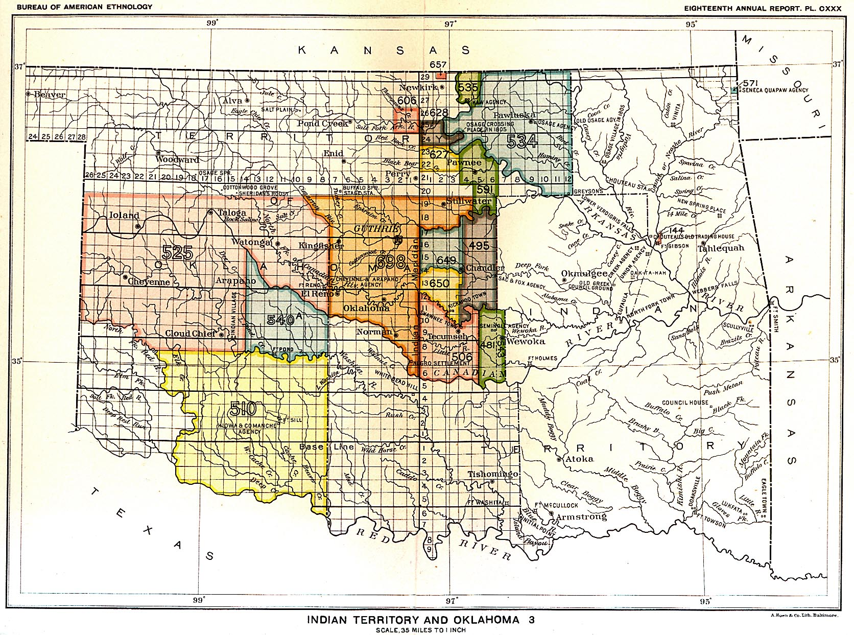 Indian Land Cessions In The U S Indian Territory Oklahoma - Us map of indian territories