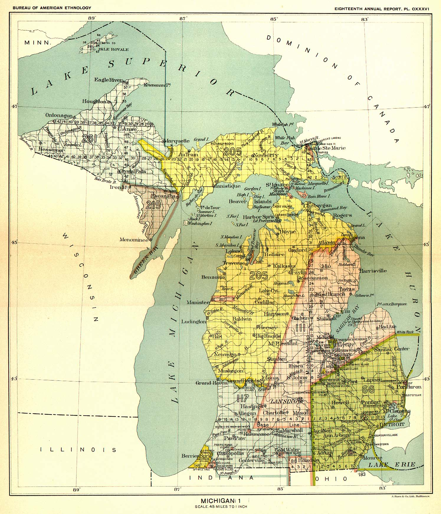 Indian Land Cessions In The U S Michigan  Map  United - Map of us 87