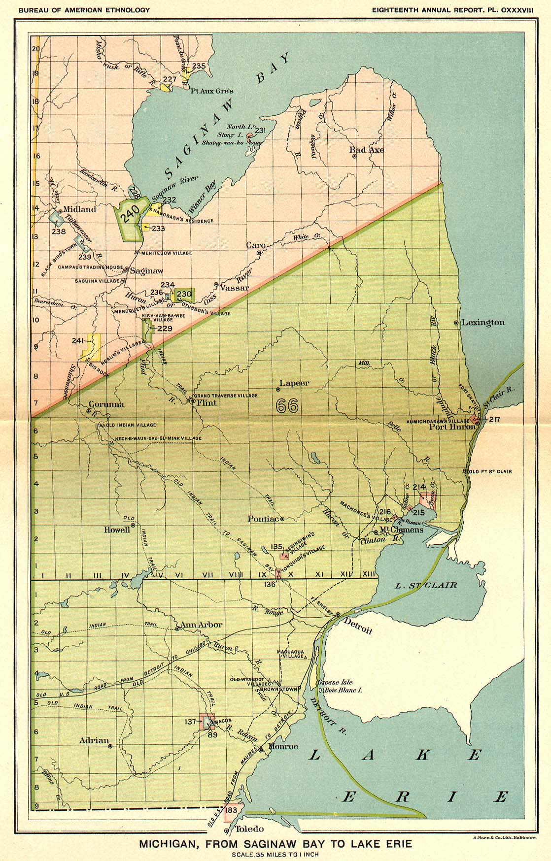 Indian Land Cessions In The U S Michigan From Saginaw Bay To - Lake erie on us map