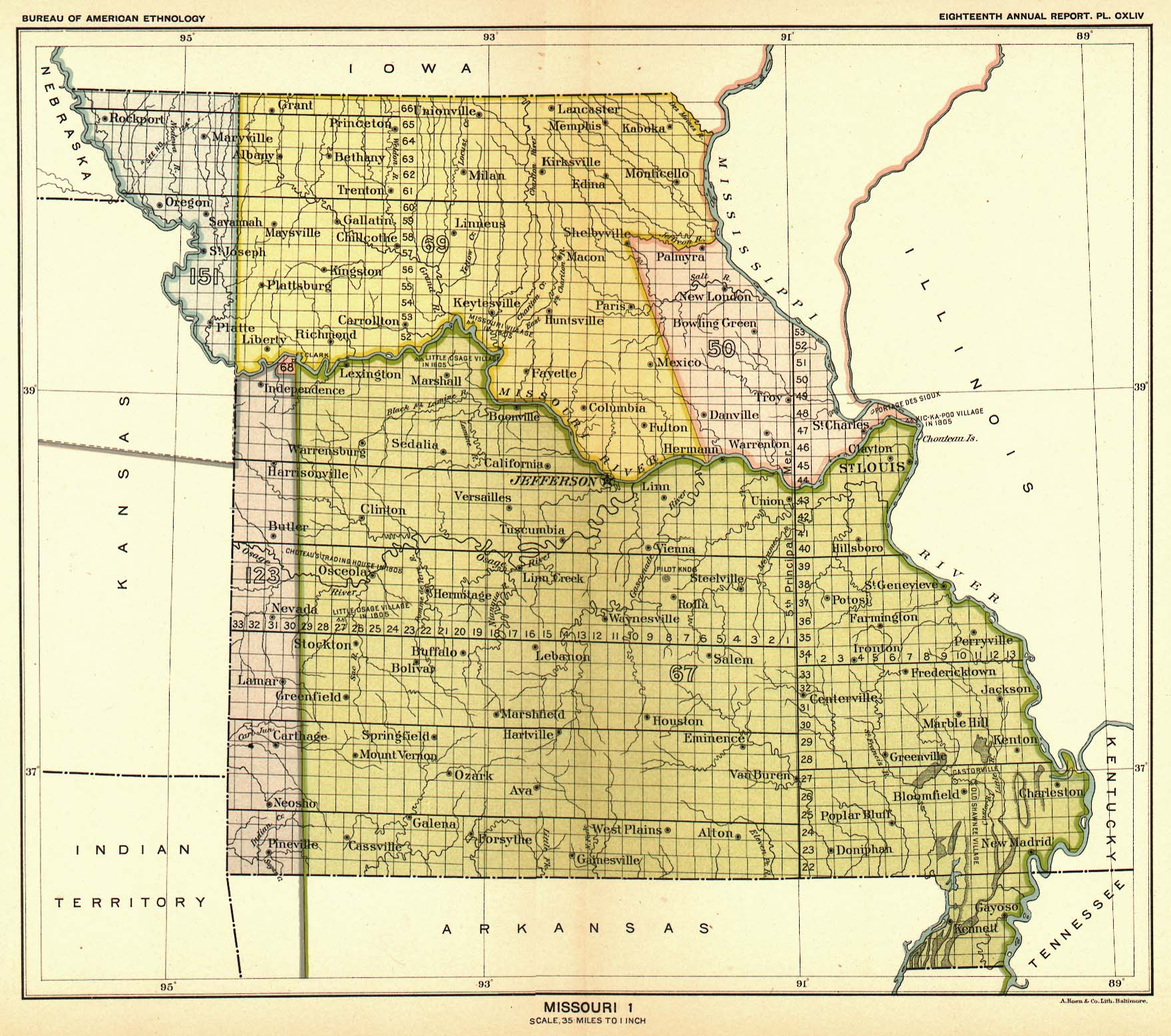 Indian Land Cessions In The U S Missouri  Map  United - United states map of missouri