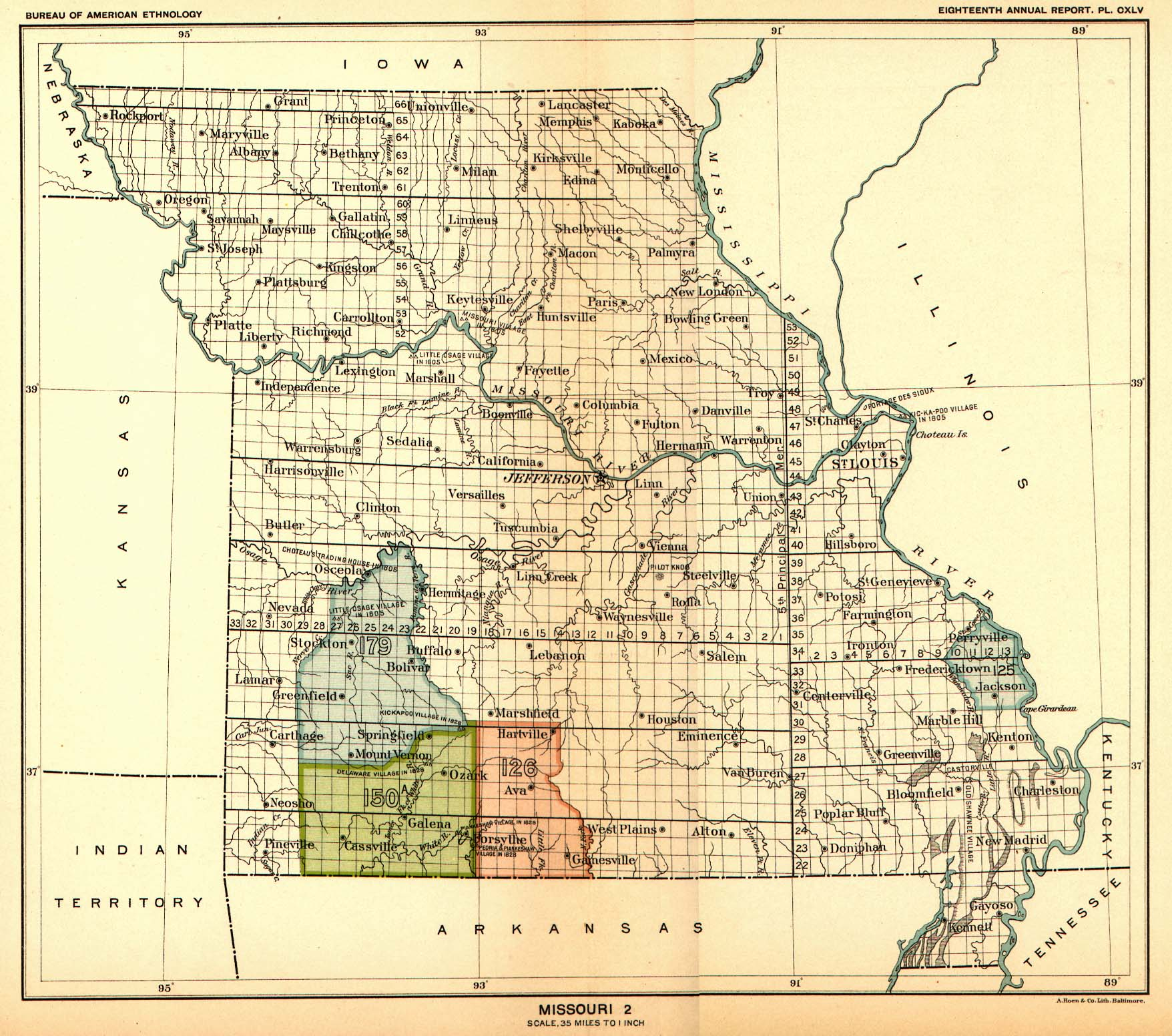 Indian Land Cessions In The U S Missouri Map United - Map of indian lands in the us