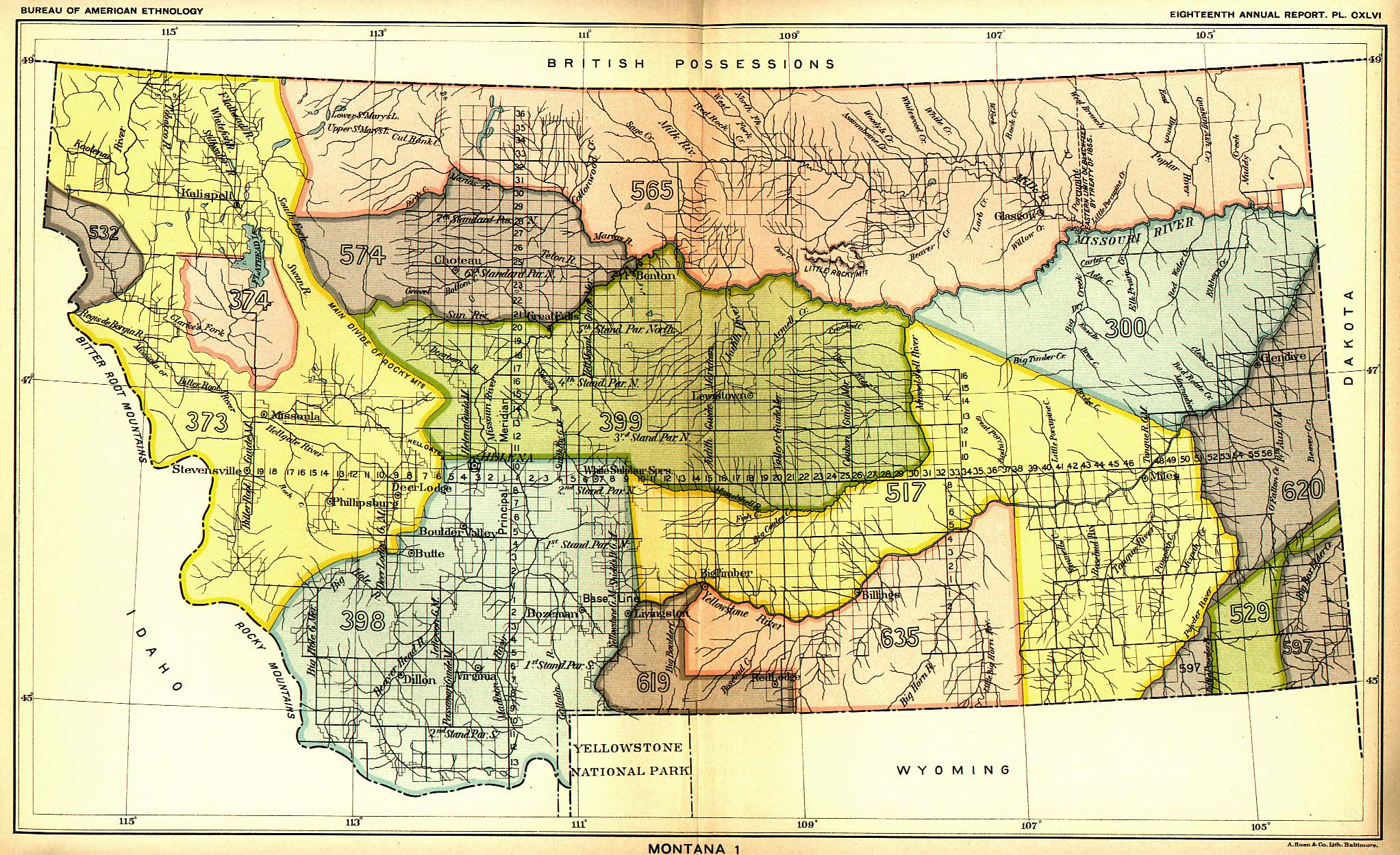 Indian Land Cessions In The U S Montana Map United - Montana map us