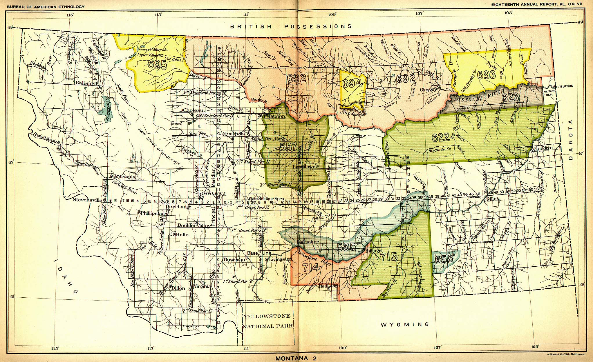 Indian Land Cessions In The U S Montana 2 Map 40