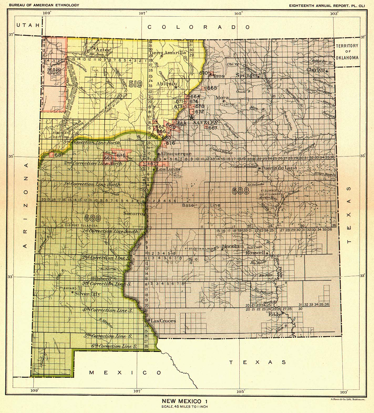 Indian Land Cessions in the U. S., New Mexico 1, Map 44. United ...