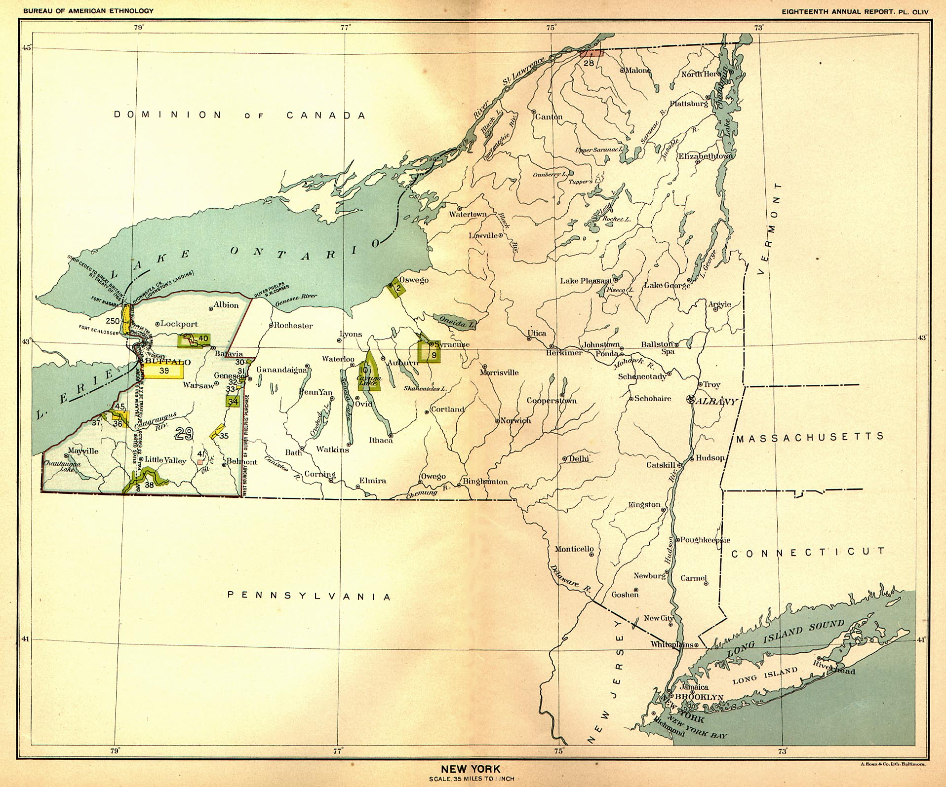 Indian Land Cessions in the U S New York Map 47 United States