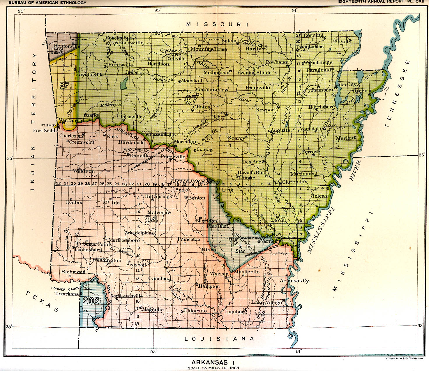 Indian Land Cessions In The U S Arkansas Map United - Arkansas on a us map