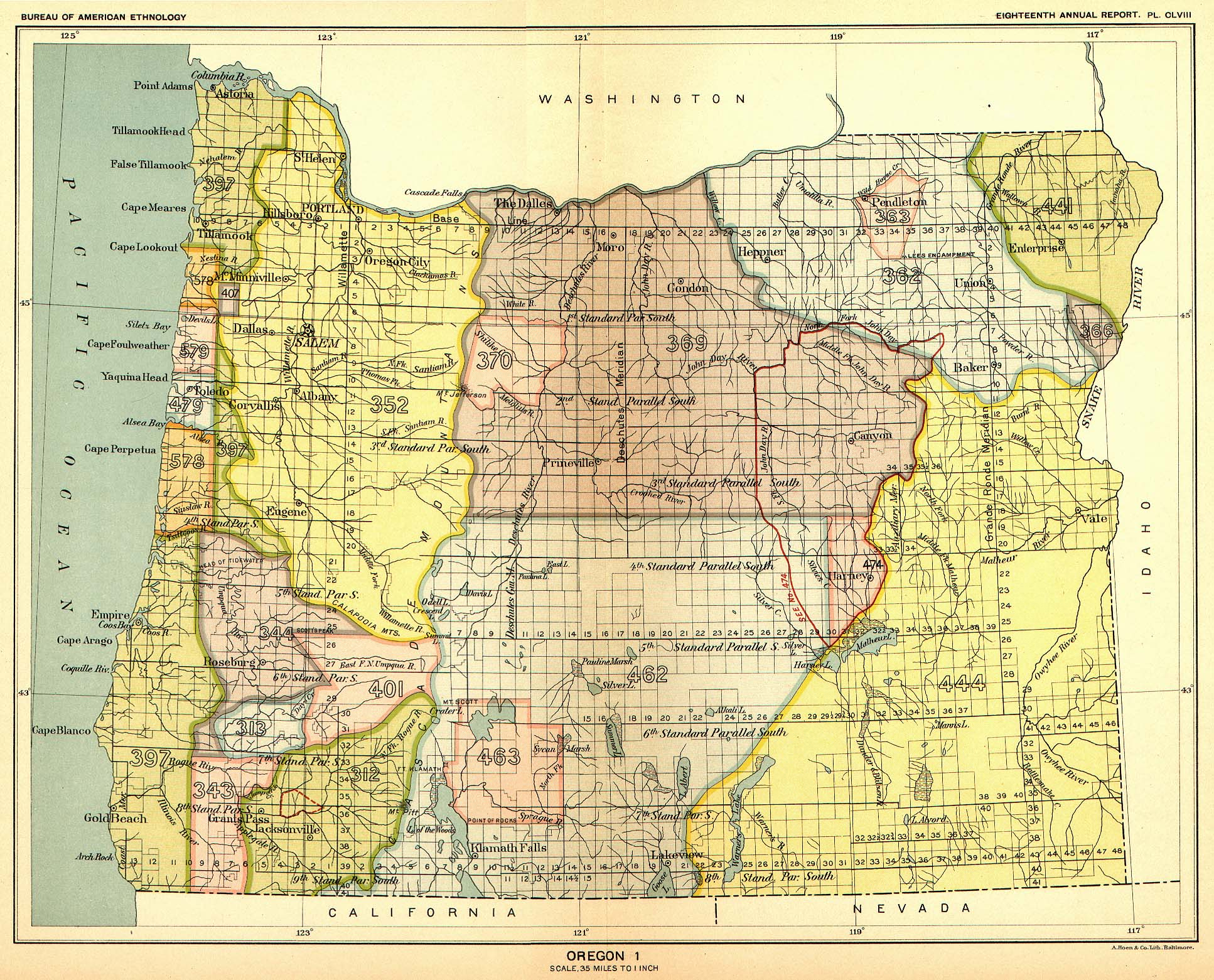 Indian Land Cessions In The U S Oregon Map United States - Maps of oregon