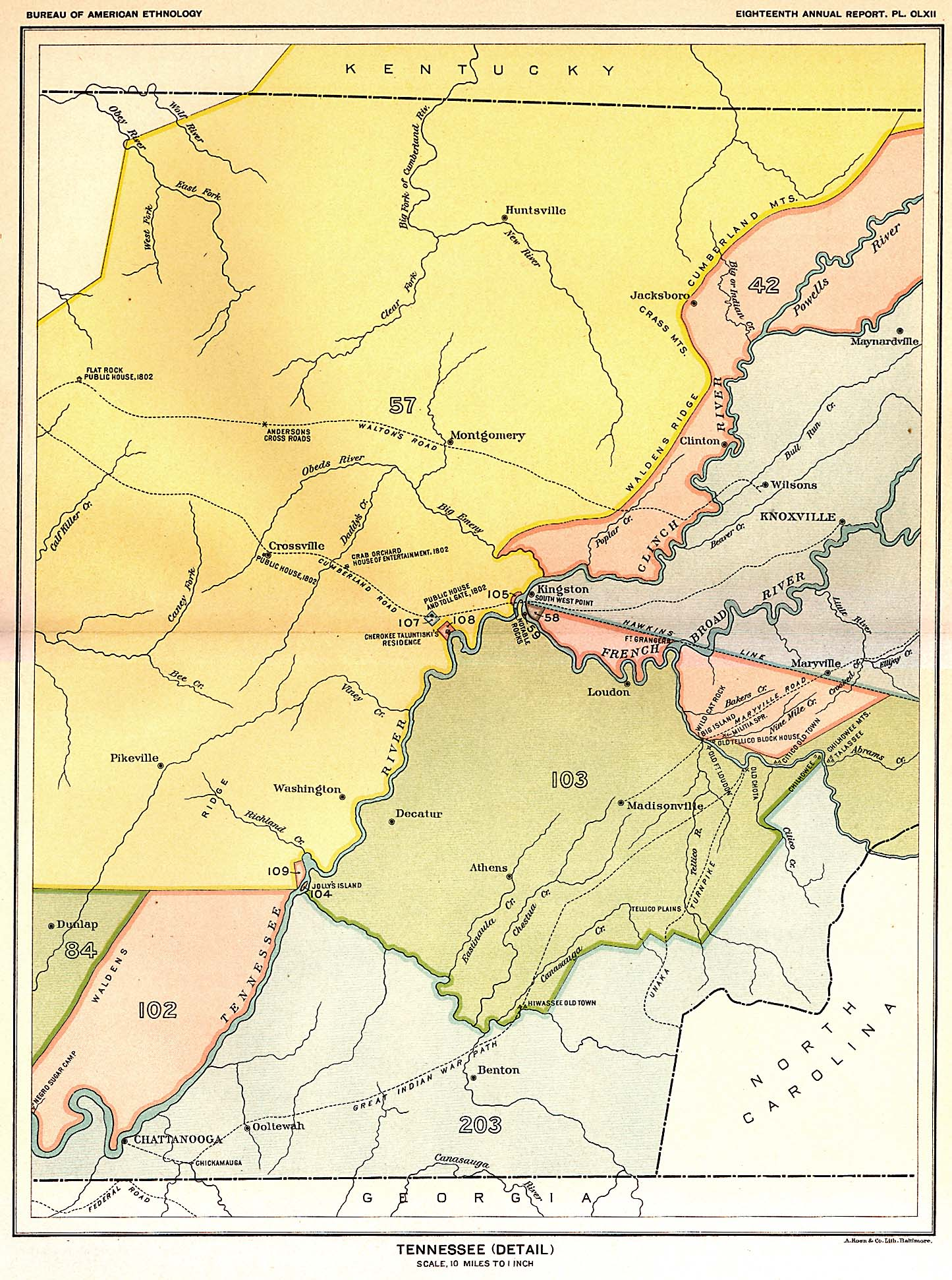 Map Of Us Tennessee.Indian Land Cessions In The U S Tennessee Detail Map 55