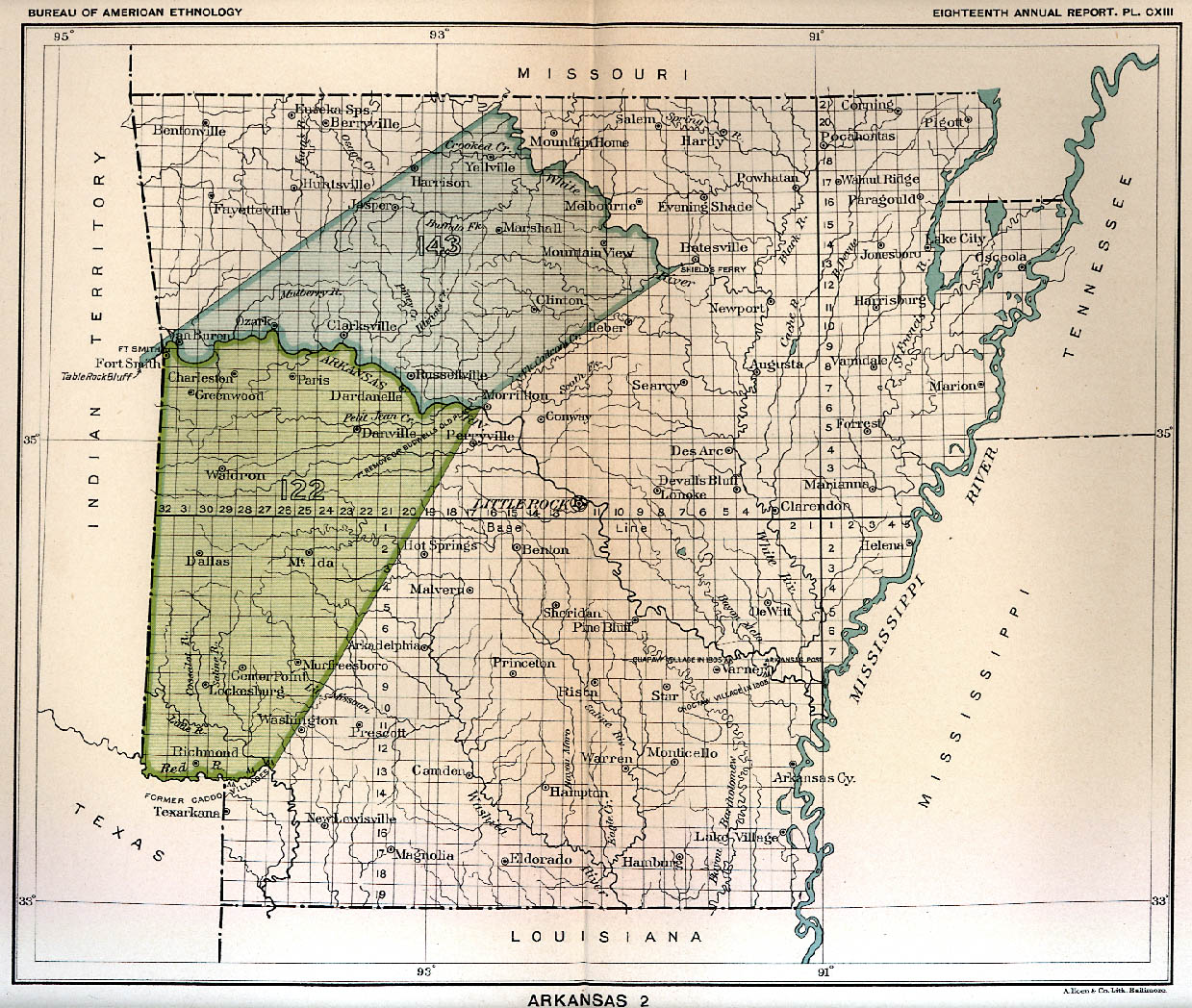 Indian Land Cessions In The U S Arkansas Map United - Arkansas map us