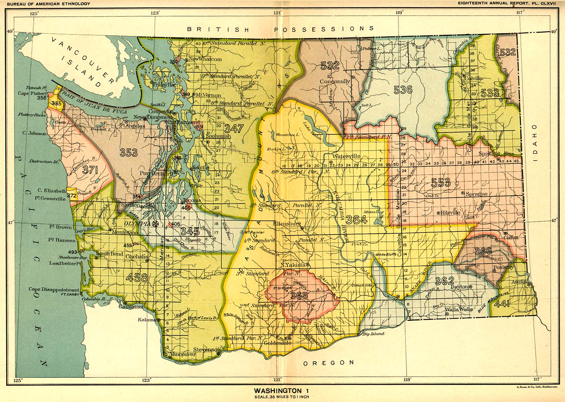 Indian Land Cessions In The U S Washington Map United - Map of indian lands in the us