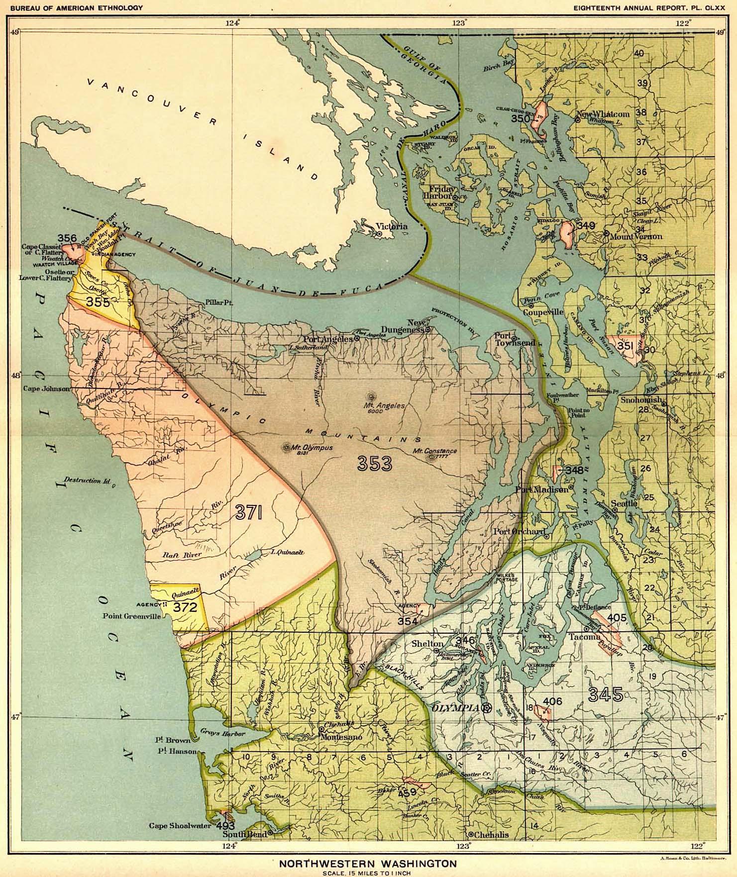 Indian Land Cessions in the U. S., Northwest Washington, Map ...