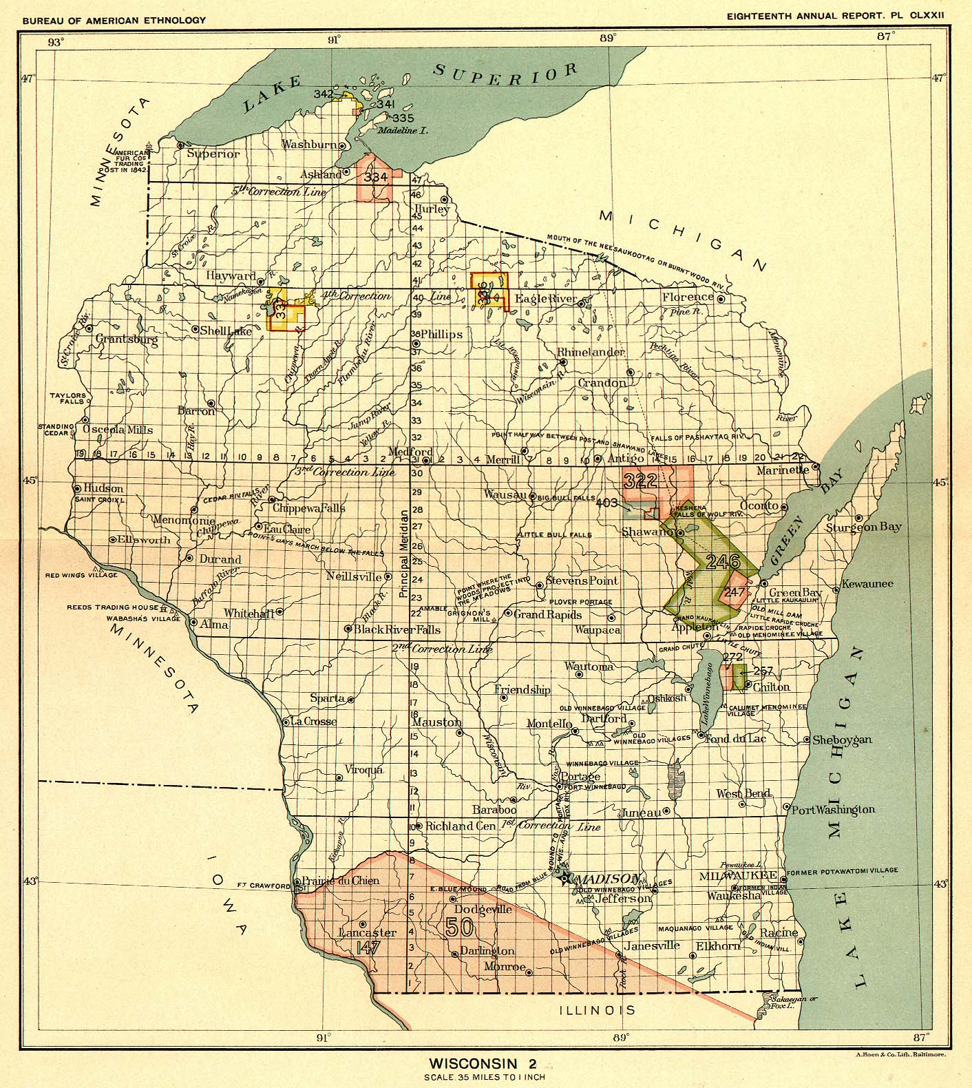 Indian Land Cessions In The U S Wisconsin  Map  United - Map of us 87