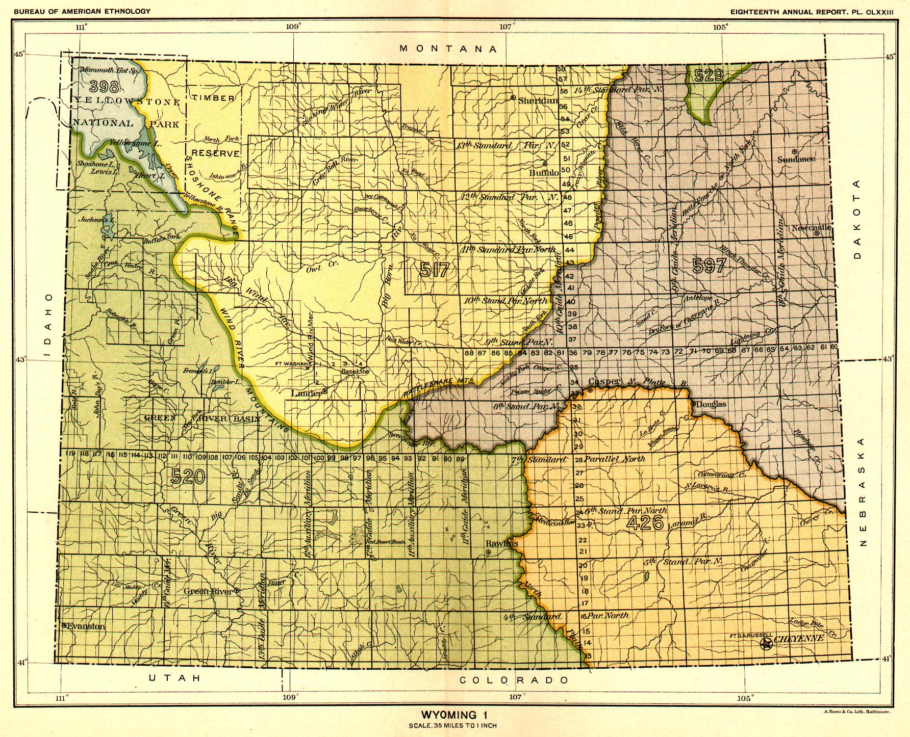 Indian Land Cessions In The U S Wyoming  Map  United - Map us 81