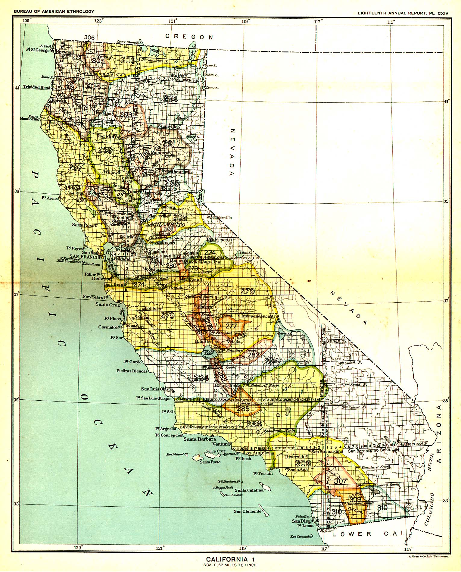 Indian Land Cessions In The U S California Map United - Map of gold in the us