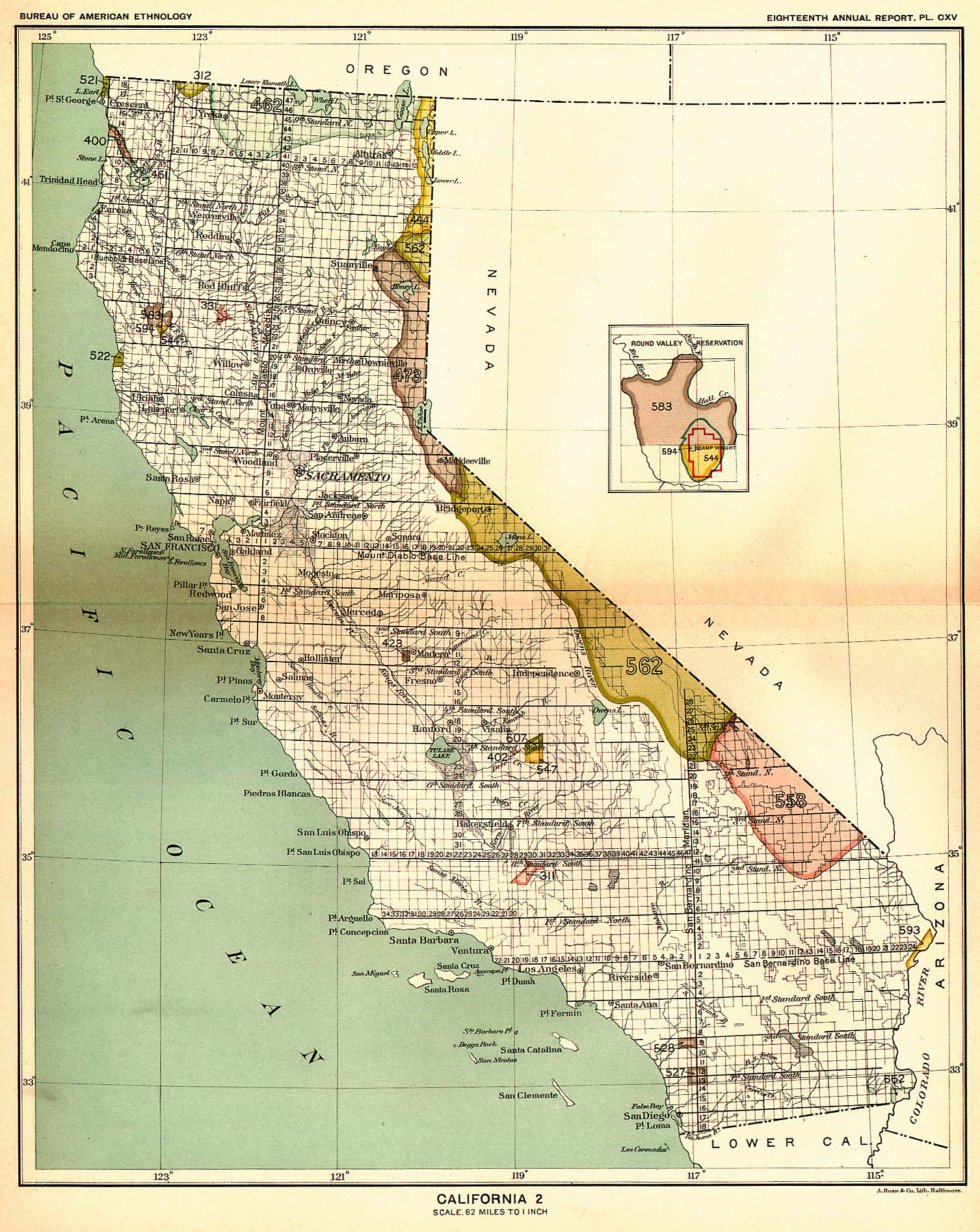 Indian Land Cessions In The U S California Map United - Map of indian lands in the us