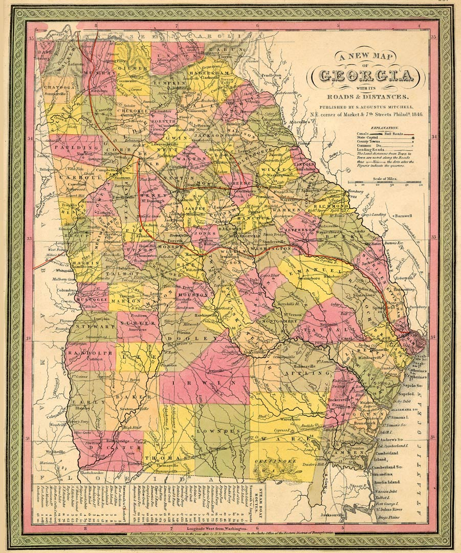 State Of Georgia County Map.The Usgenweb Archives Digital Map Library Georgia Maps Index
