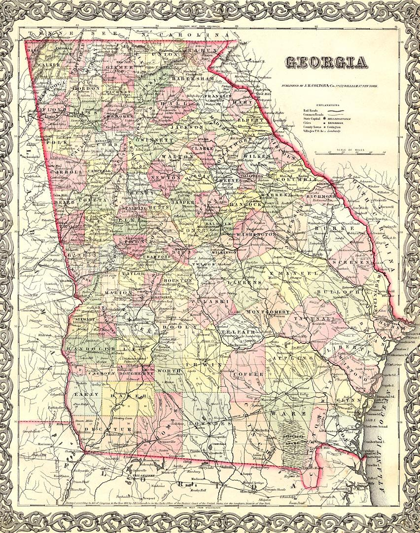 The USGenWeb Archives Digital Map Library Georgia Maps Index - County map of georgia