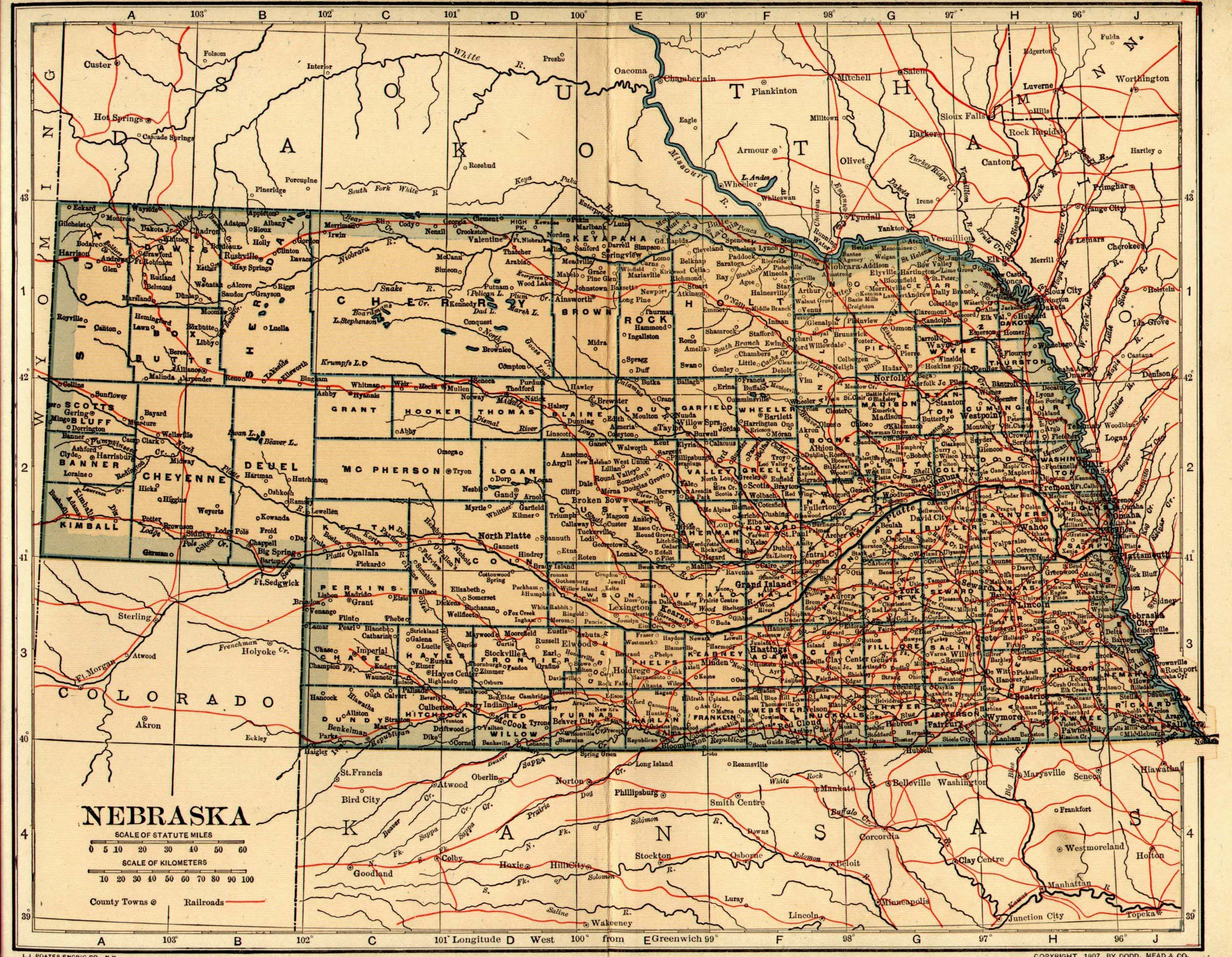 Maps Atlases - Map of nebraska towns