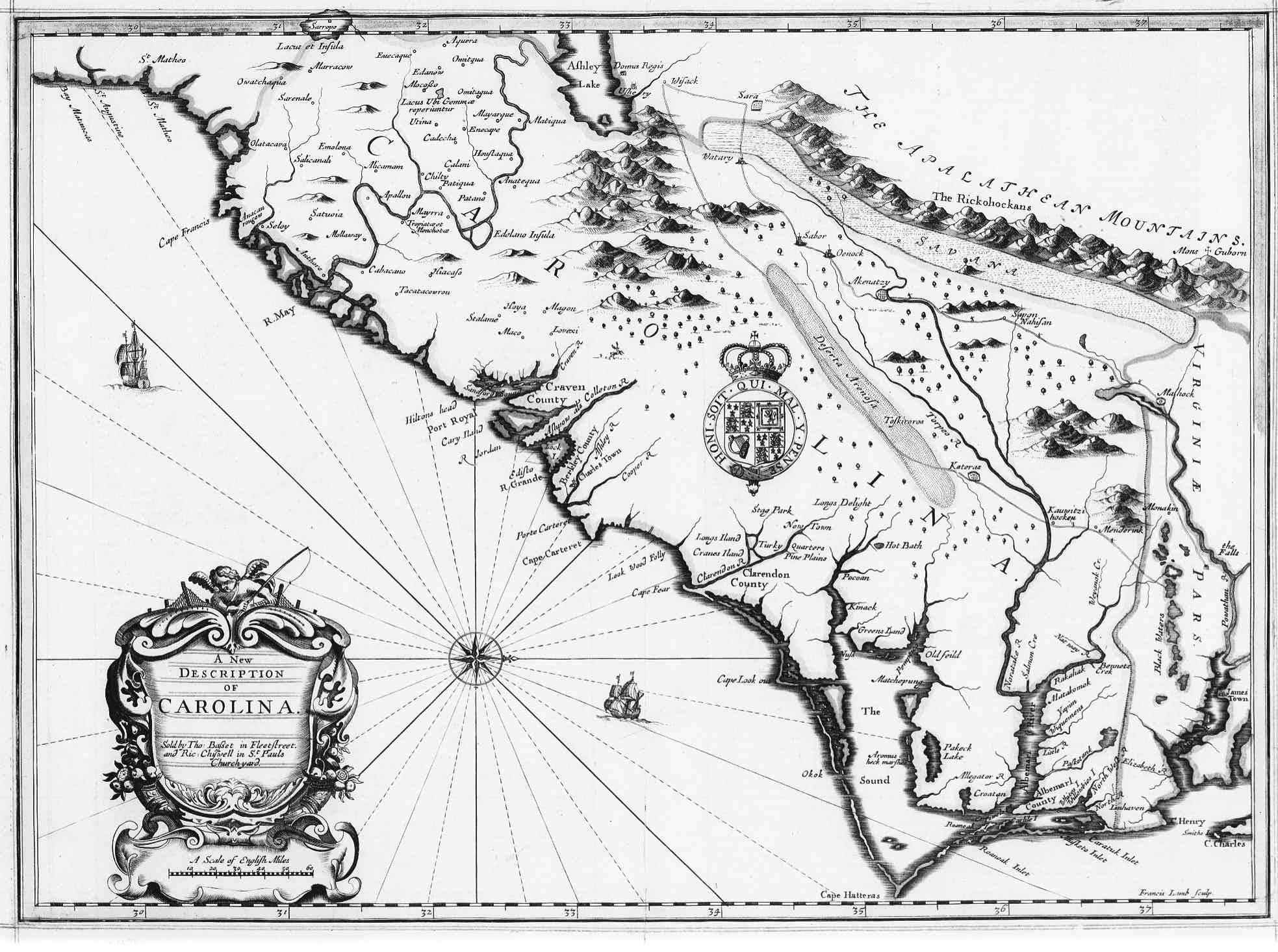 Us gebweb digital map library north carolina 1676 a new description of carolina size 275kb drawn by francis lamb source unknown publicscrutiny Gallery