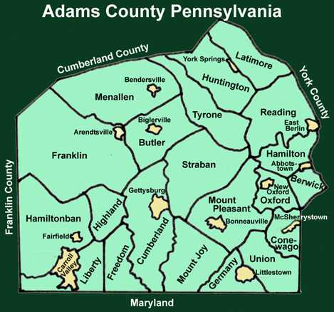 Adams County Pennsylvania Township Maps