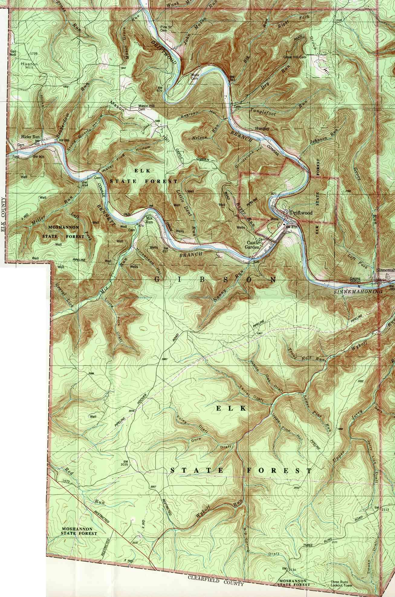 Cameron County Pennsylvania Township Maps