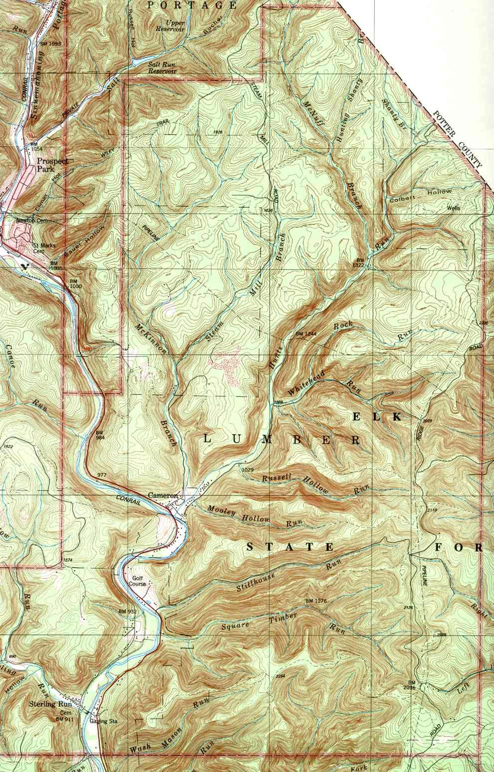 Cameron County Pennsylvania Township Maps Cameron County