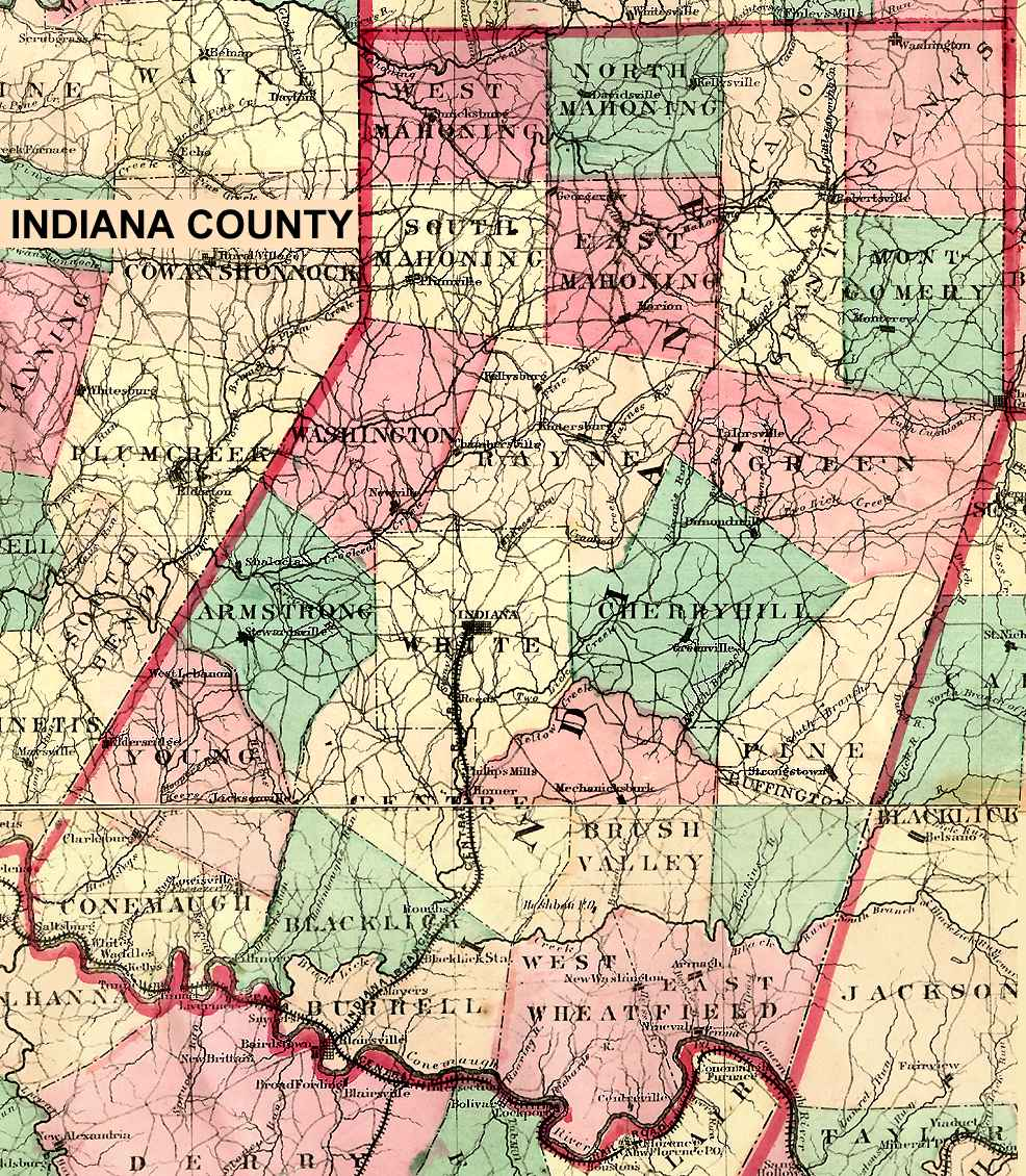 Bits And Pieces Of The History Of Rural Valley And Cowanshannock - Indiana county map