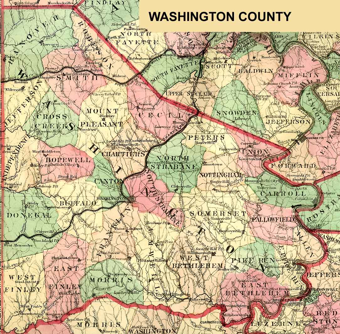 Washington County GenealogyPAGenWeb Project Home Page - Pa map with counties