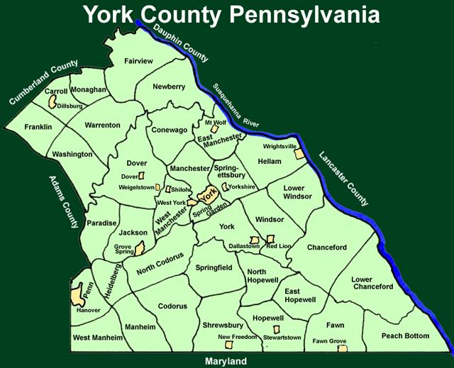 York County Pennsylvania Township Maps - Map of pa towns