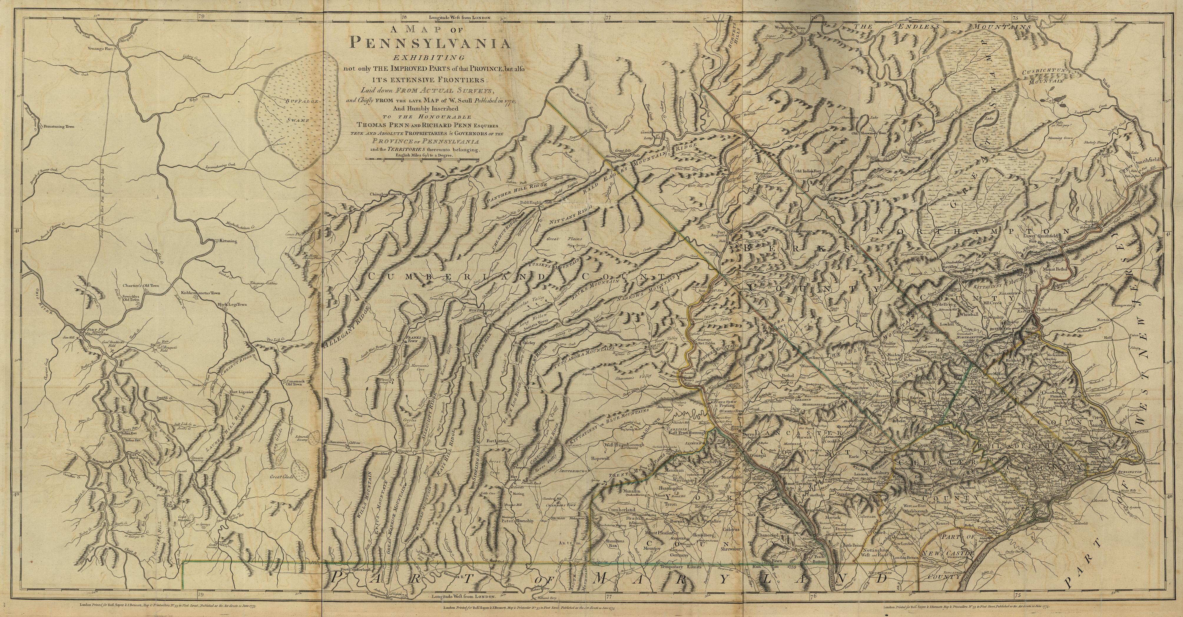 a map of pennsylvania 1770 1775