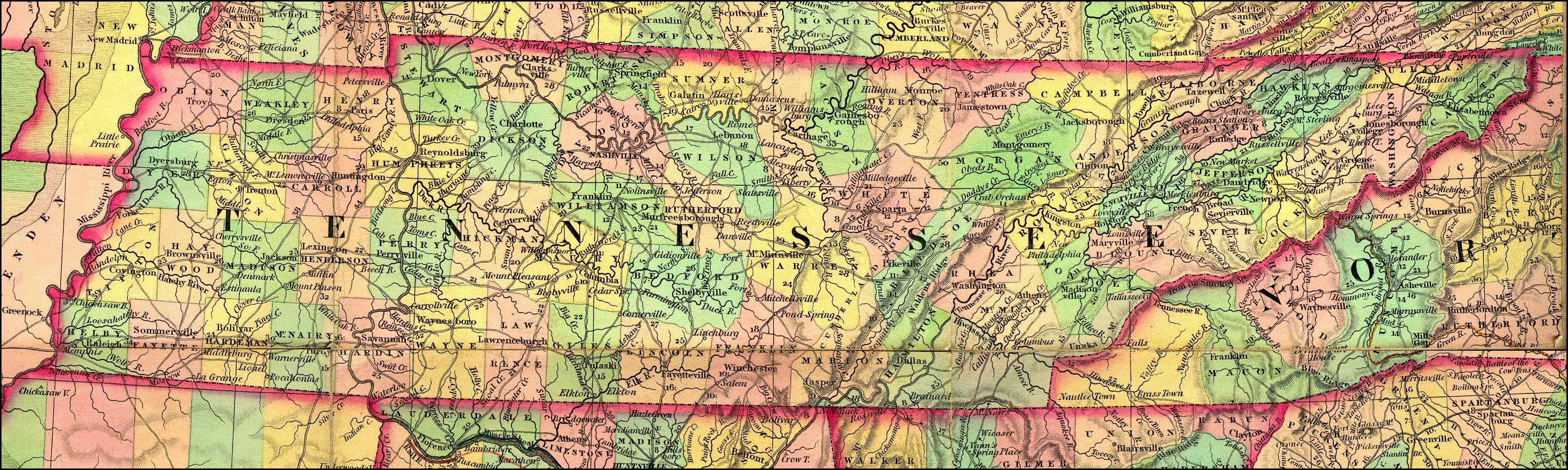 tennessee maps tennessee digital map library table of contents  - tennessee state maps