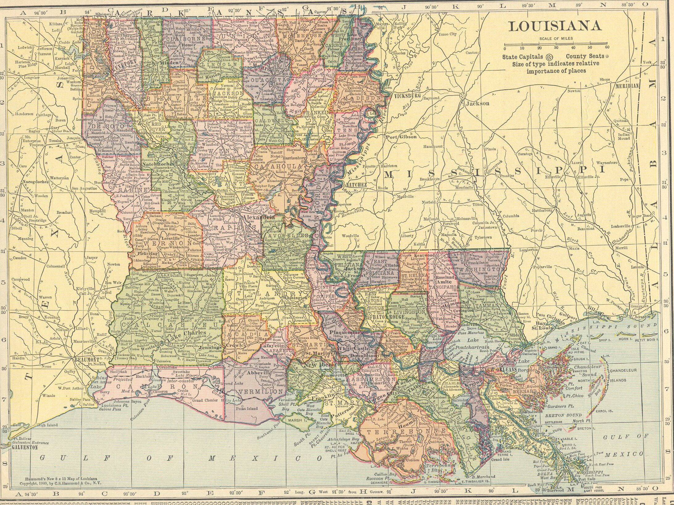 Map Usa Louisiana%0A The USGenWeb Archives Digital Map Library Hammonds      Atlas