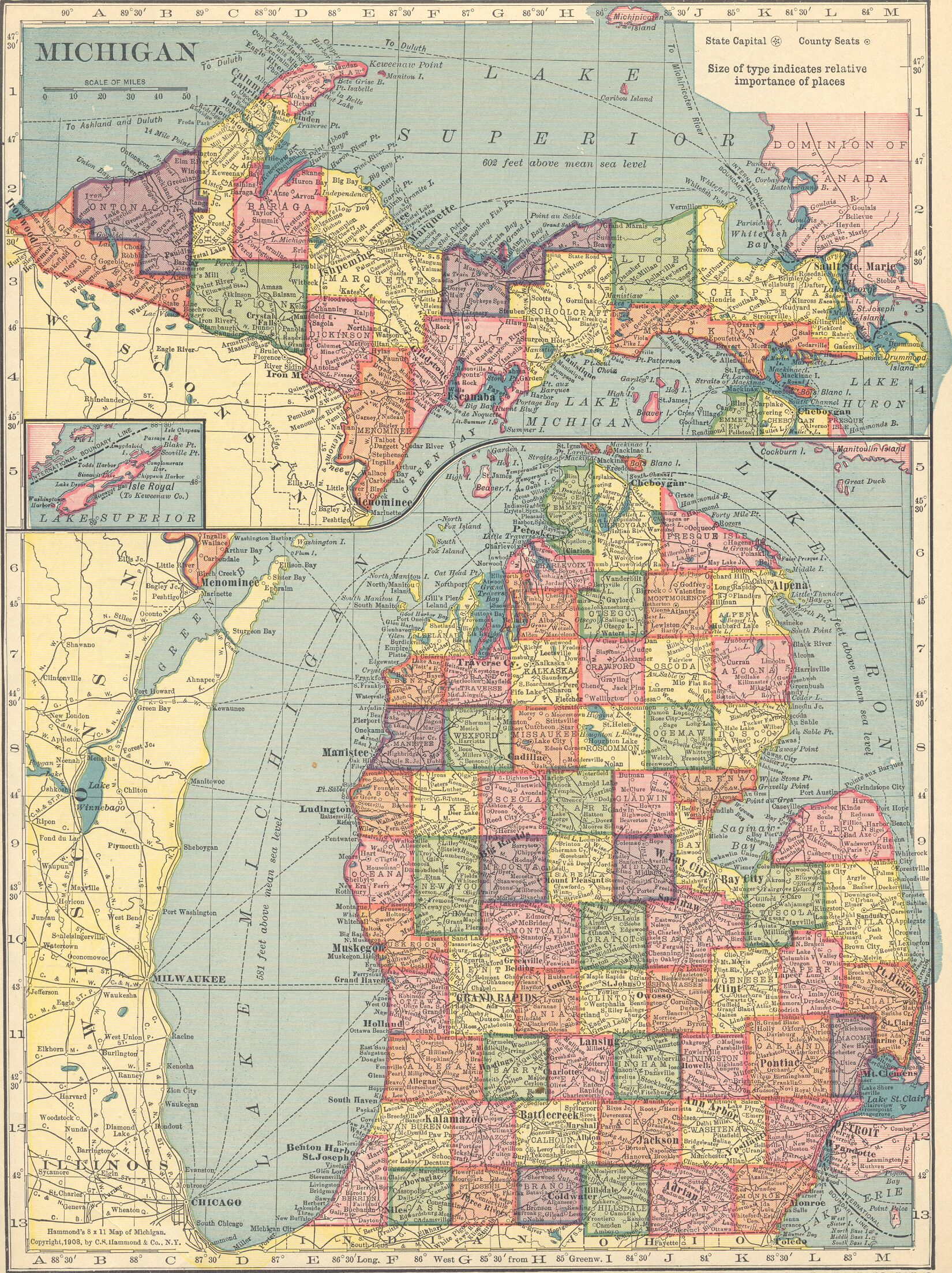 The usgenweb archives digital map library hammonds 1910 atlas states gumiabroncs Gallery
