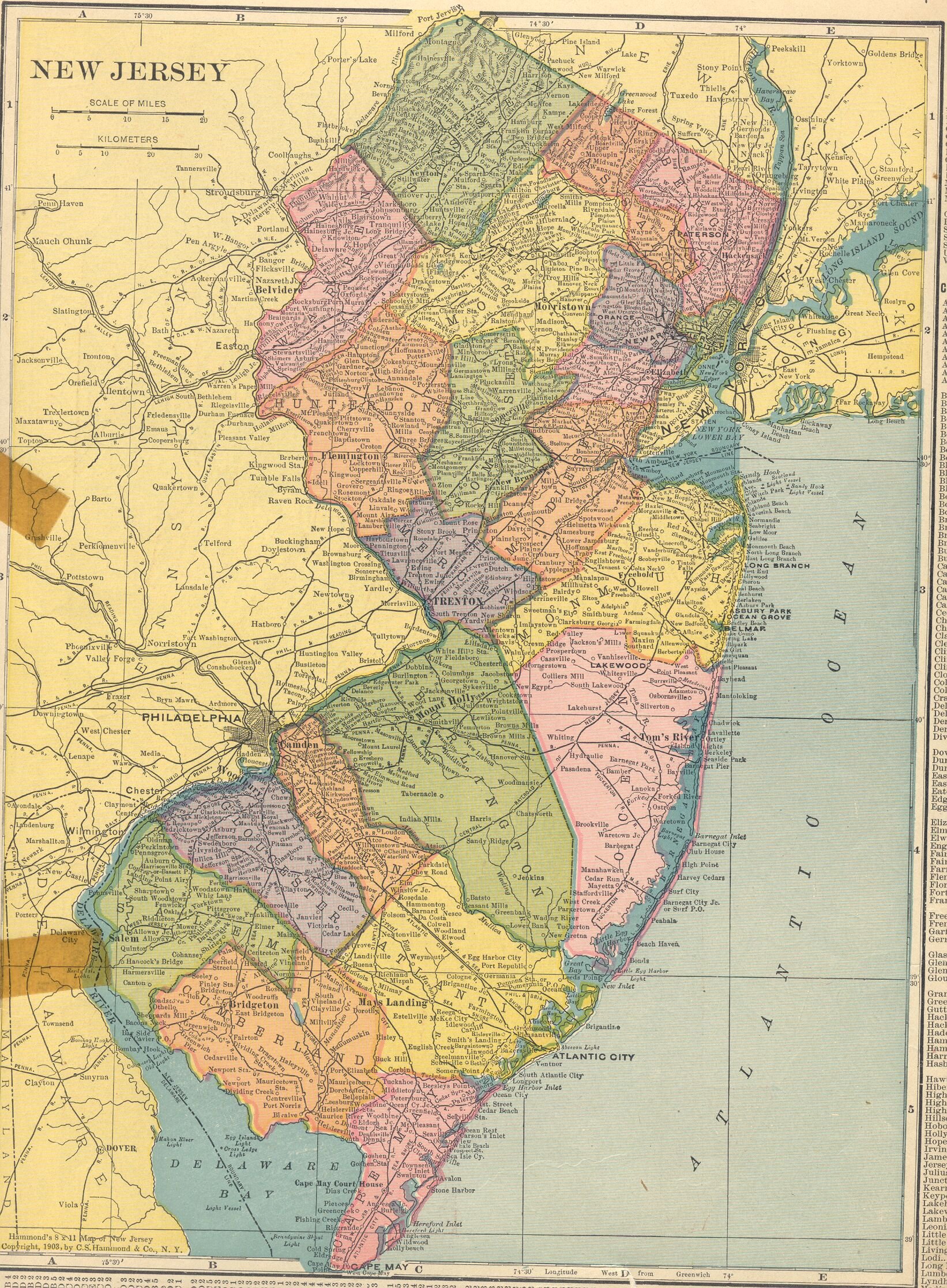 The USGenWeb Archives Digital Map Library Hammonds  Atlas - South jersey map usa
