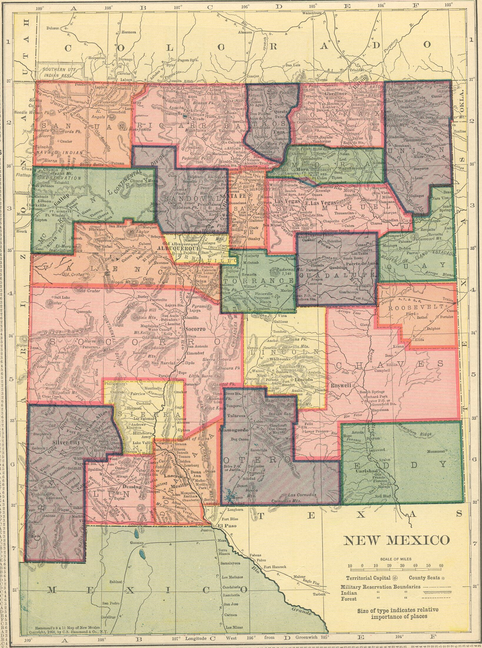 The USGenWeb Archives Digital Map Library Hammonds Atlas - New mexico map with cities