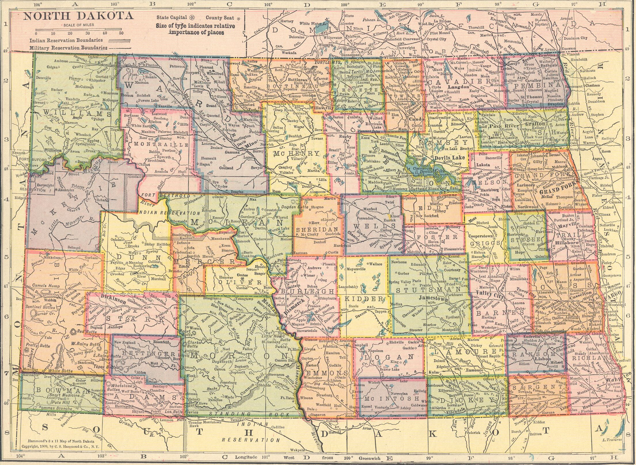 The USGenWeb Archives Digital Map Library Hammonds Atlas - North dakota map usa