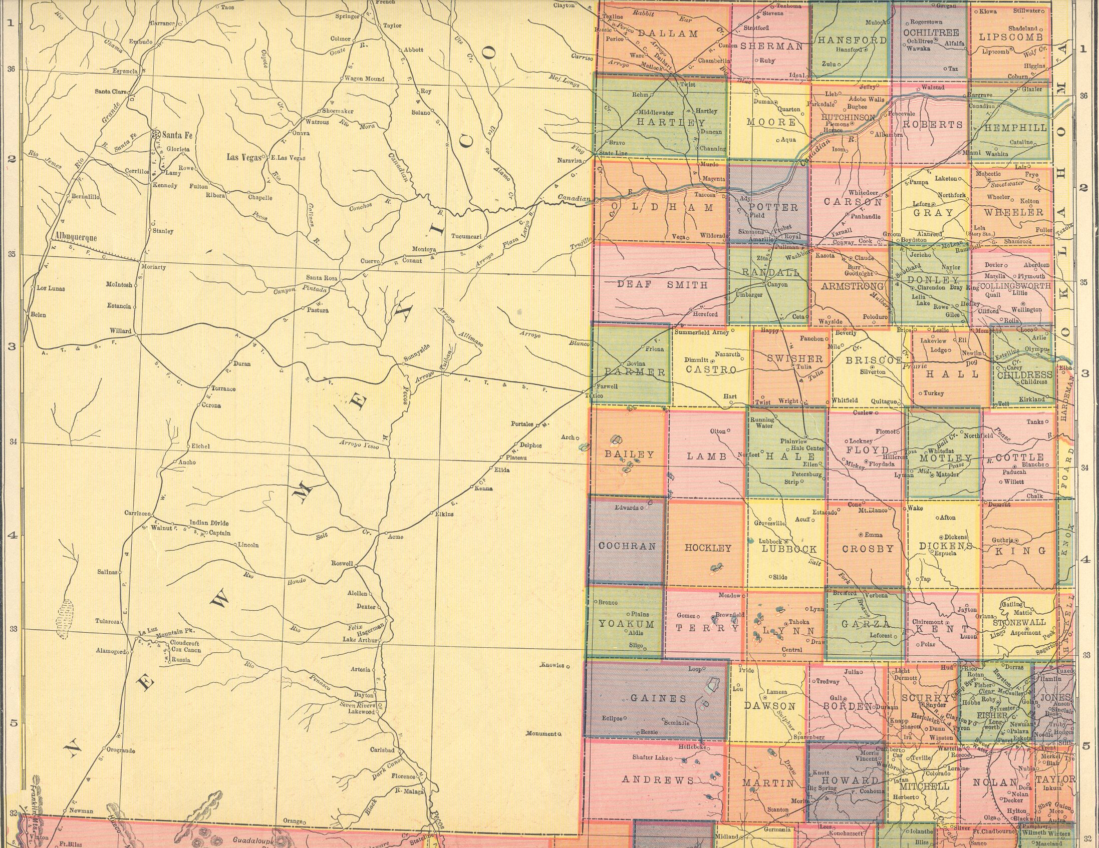 Map Of Northwest Texas.The Usgenweb Archives Digital Map Library Hammonds 1910 Atlas Texas