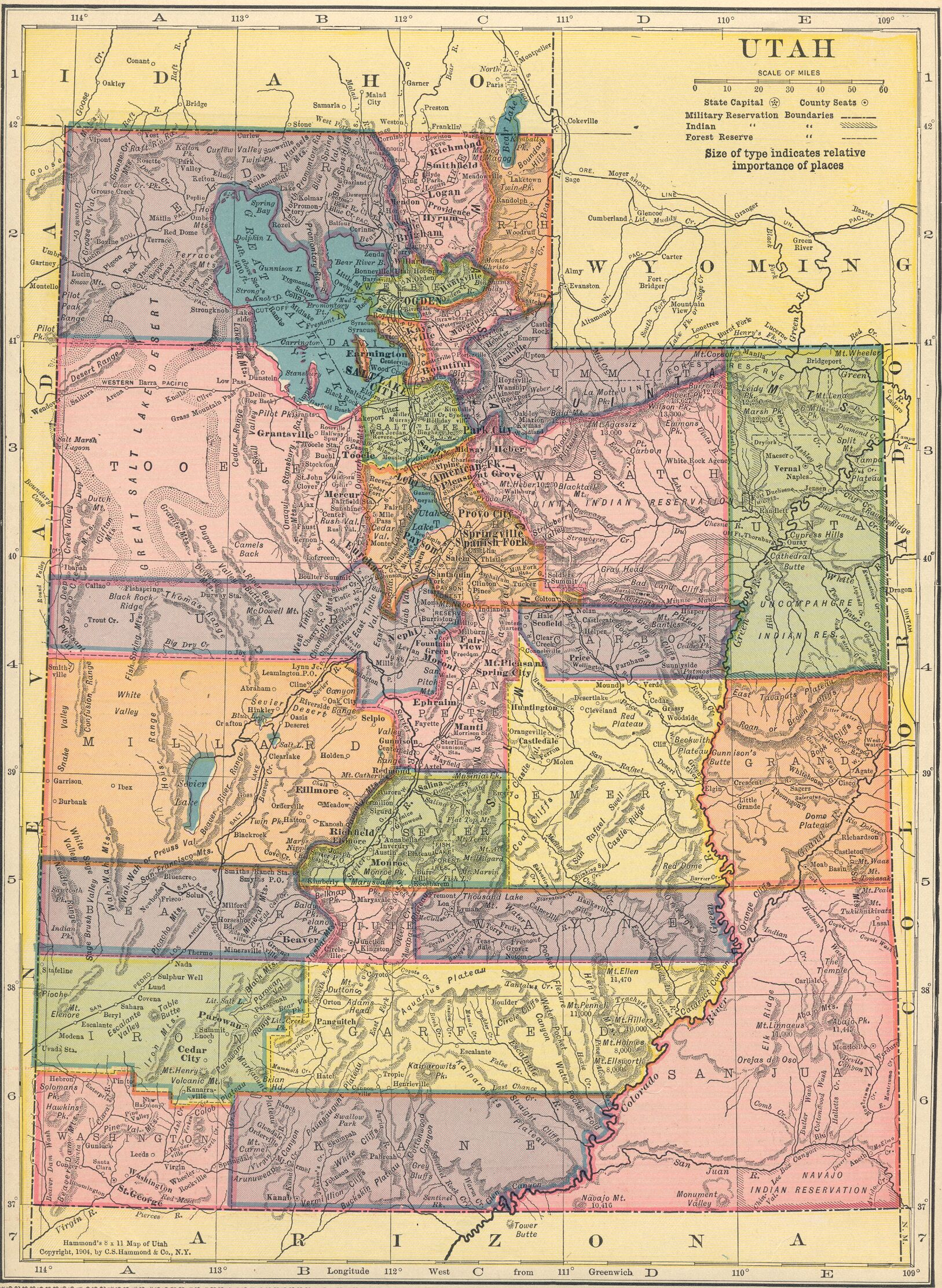 The USGenWeb Archives Digital Map Library Hammonds  Atlas - Utah on a map of the usa