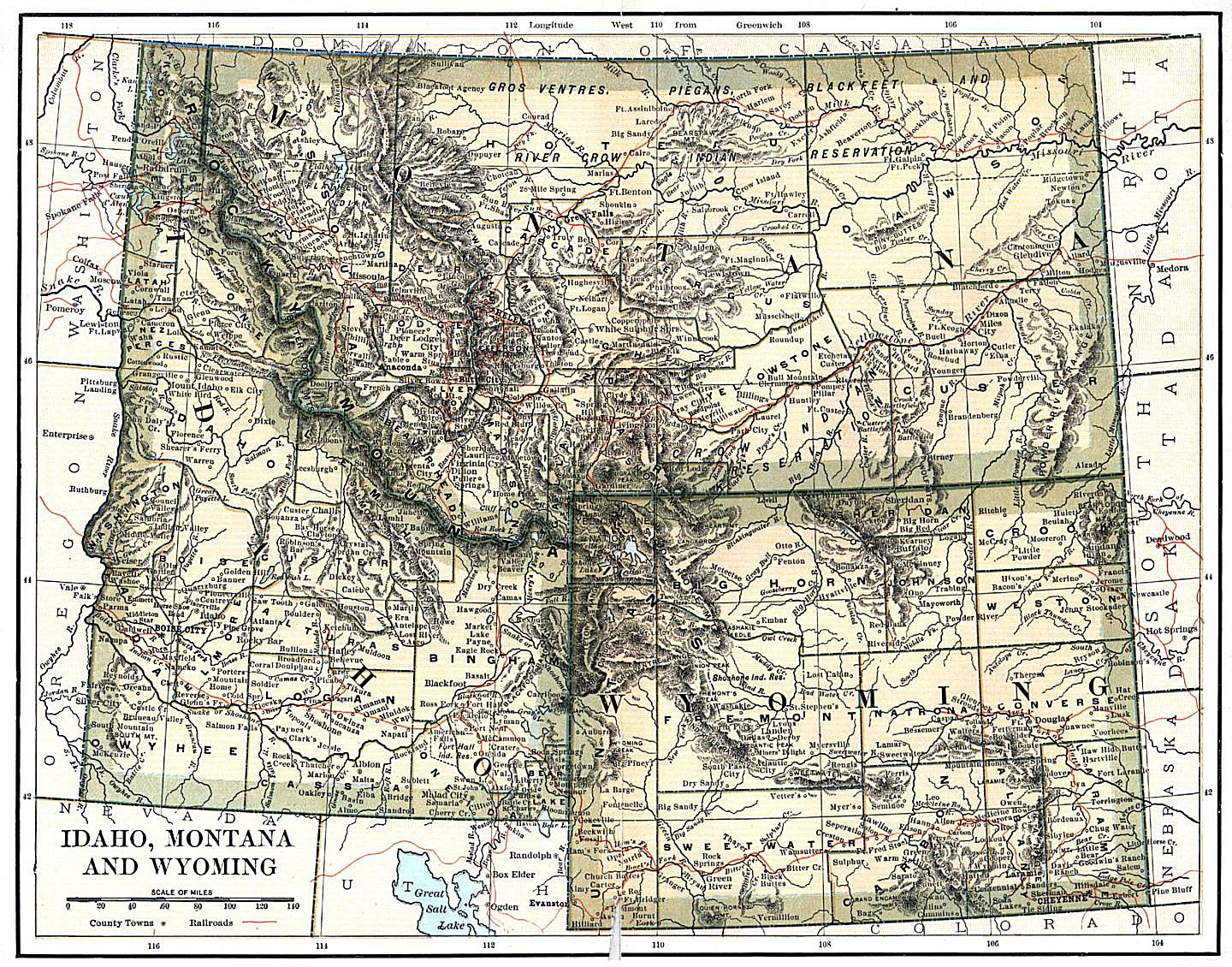 Utah And Idaho Map.Wyoming Maps Wyoming Digital Map Library Table Of Contents United