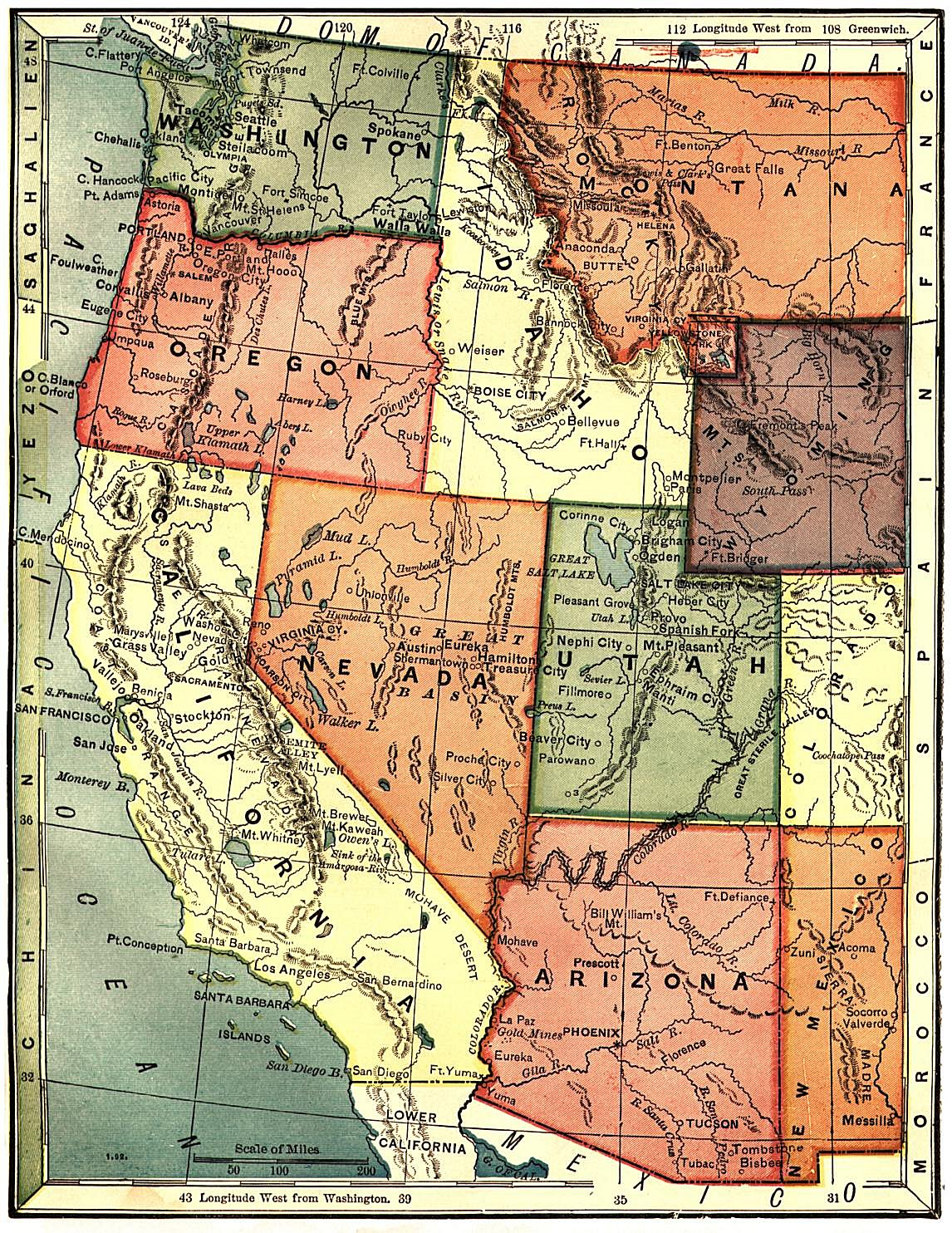 United States Digital Map Library About - Map of the western us states