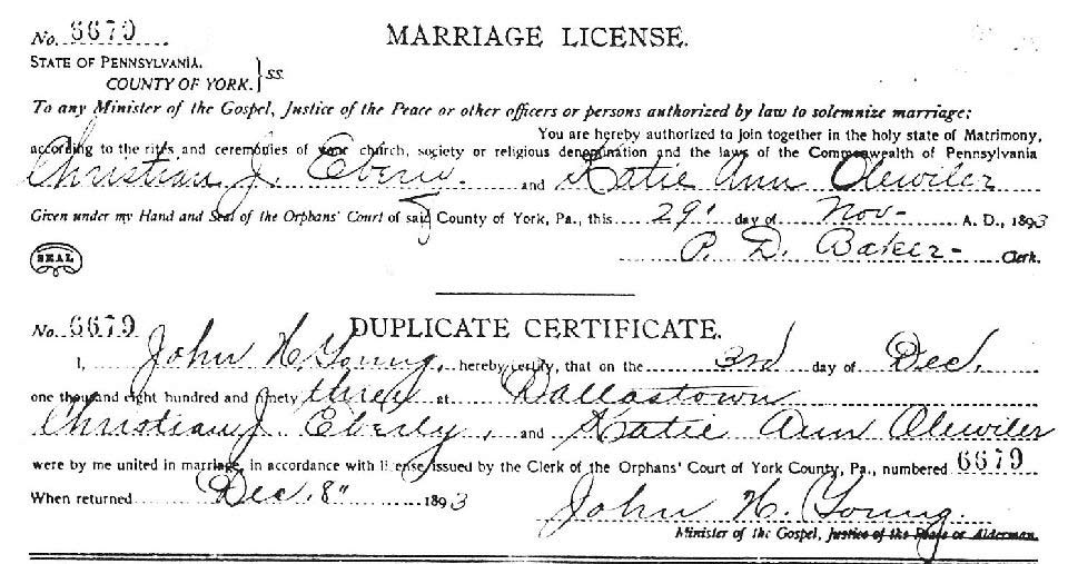 York County PA USGenWeb Archives Marriage Records